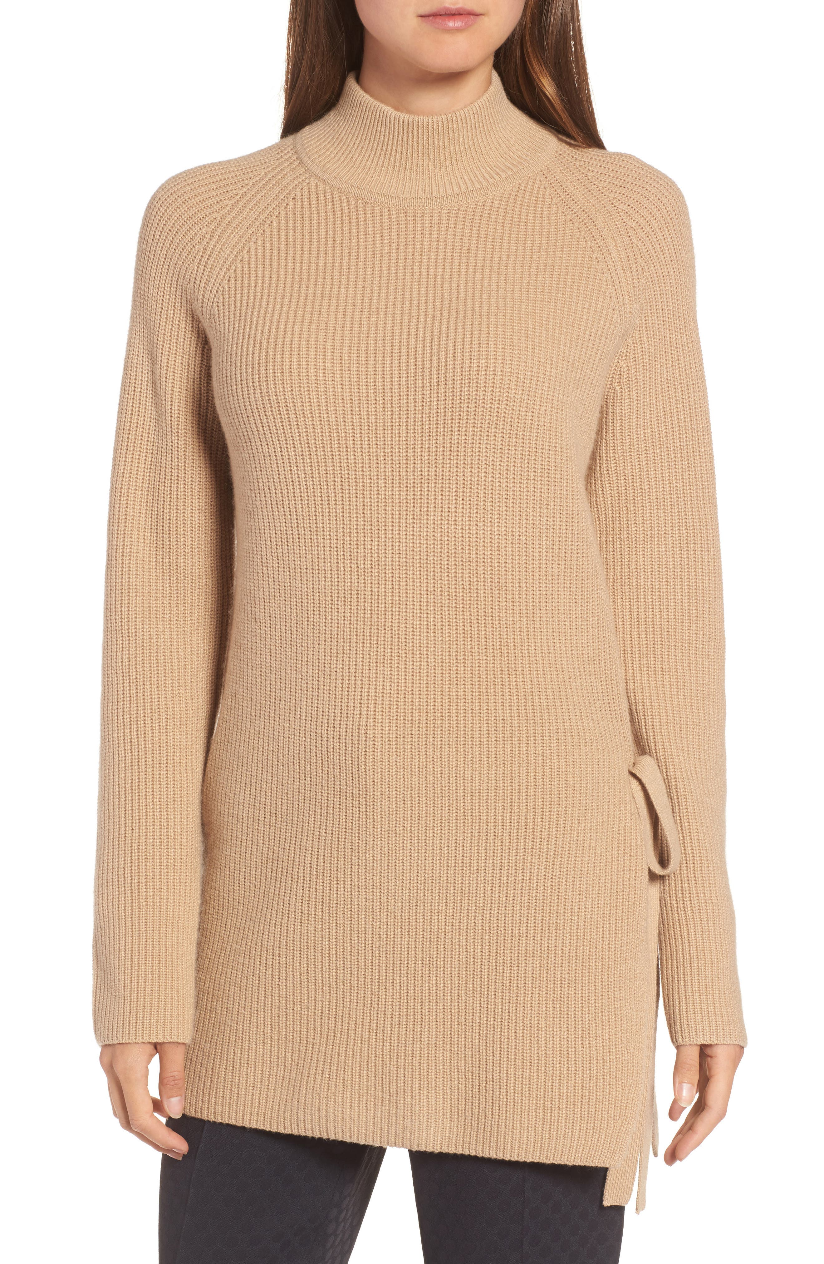 Filda Tie Side Sweater,                             Main thumbnail 1, color,                             Warm Camel