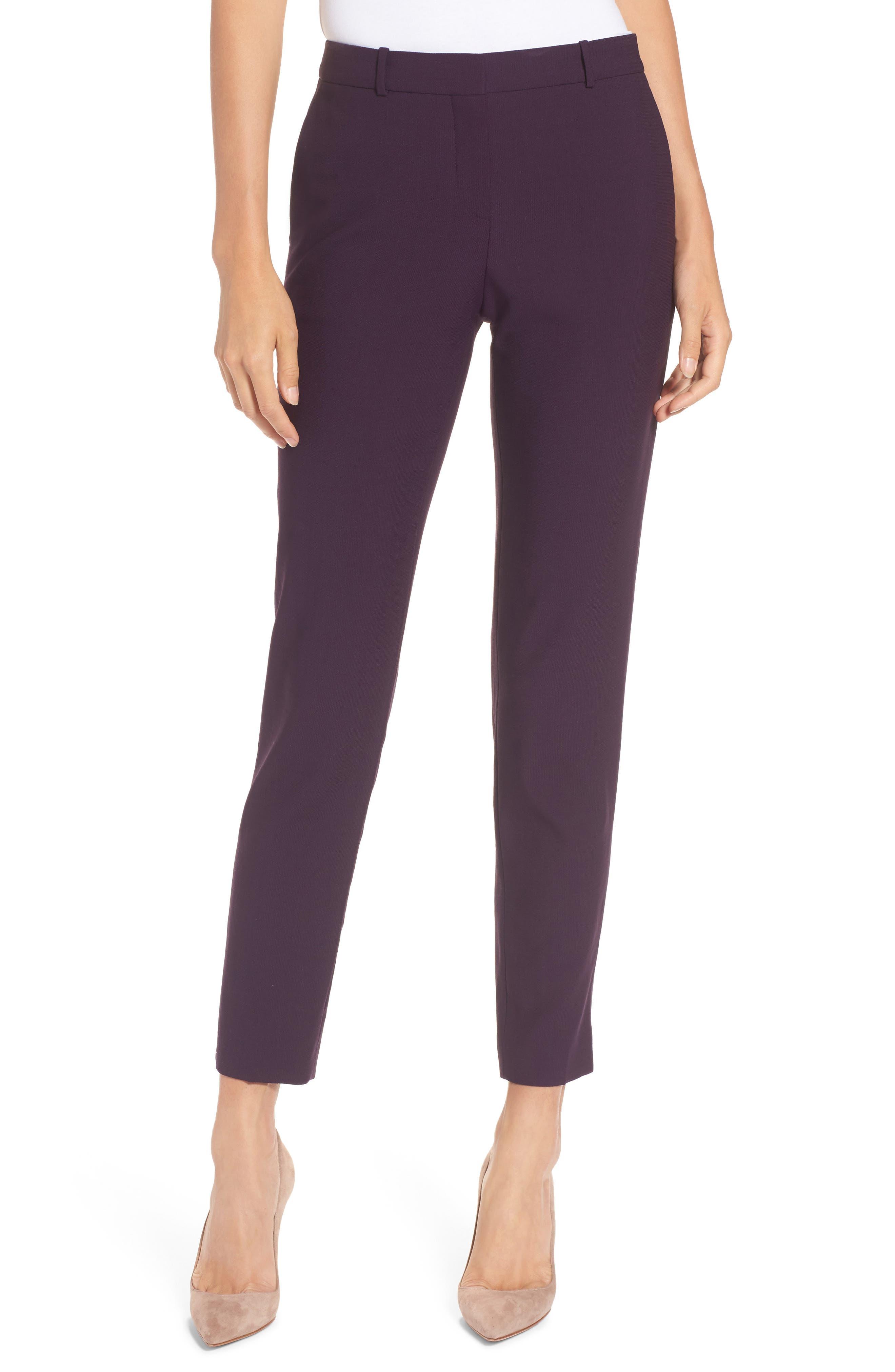 Tiluna Straight Leg Wool Suit Pants,                         Main,                         color, Dark Dahlia