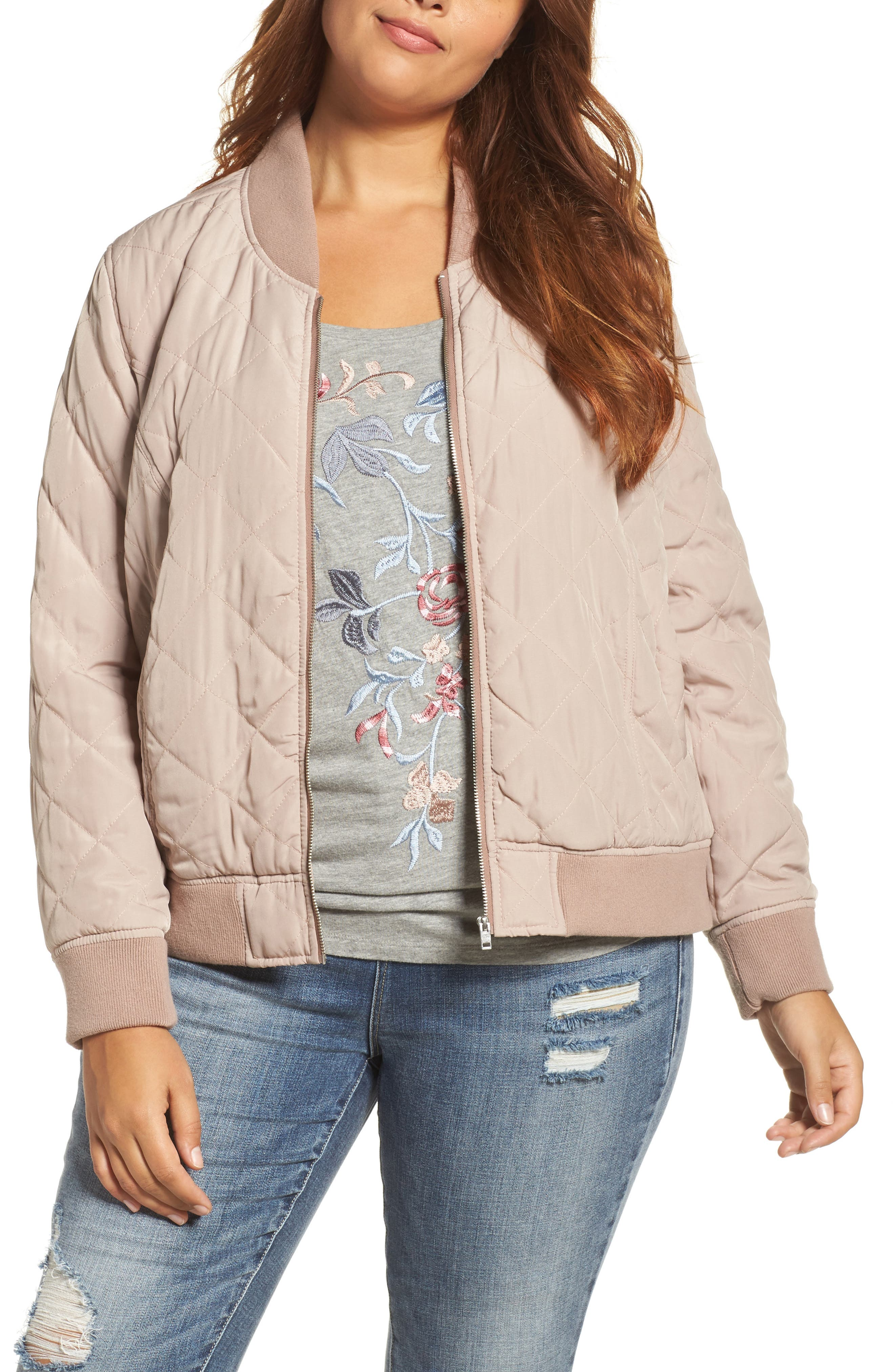Alternate Image 1 Selected - Lucky Brand Quilted Bomber Jacket (Plus Size)