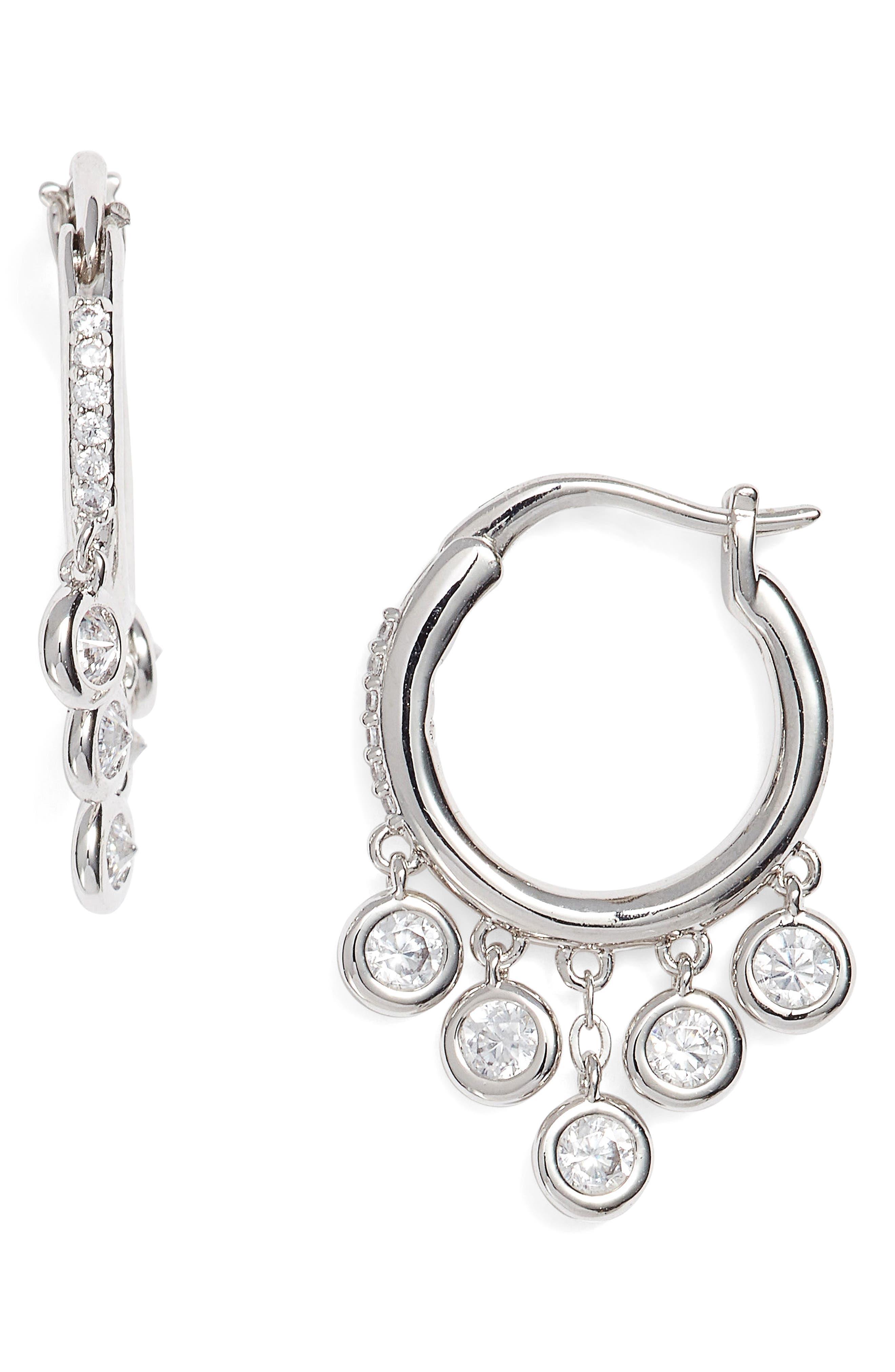 Cubic Zirconia Hoop Earrings,                         Main,                         color, Silver
