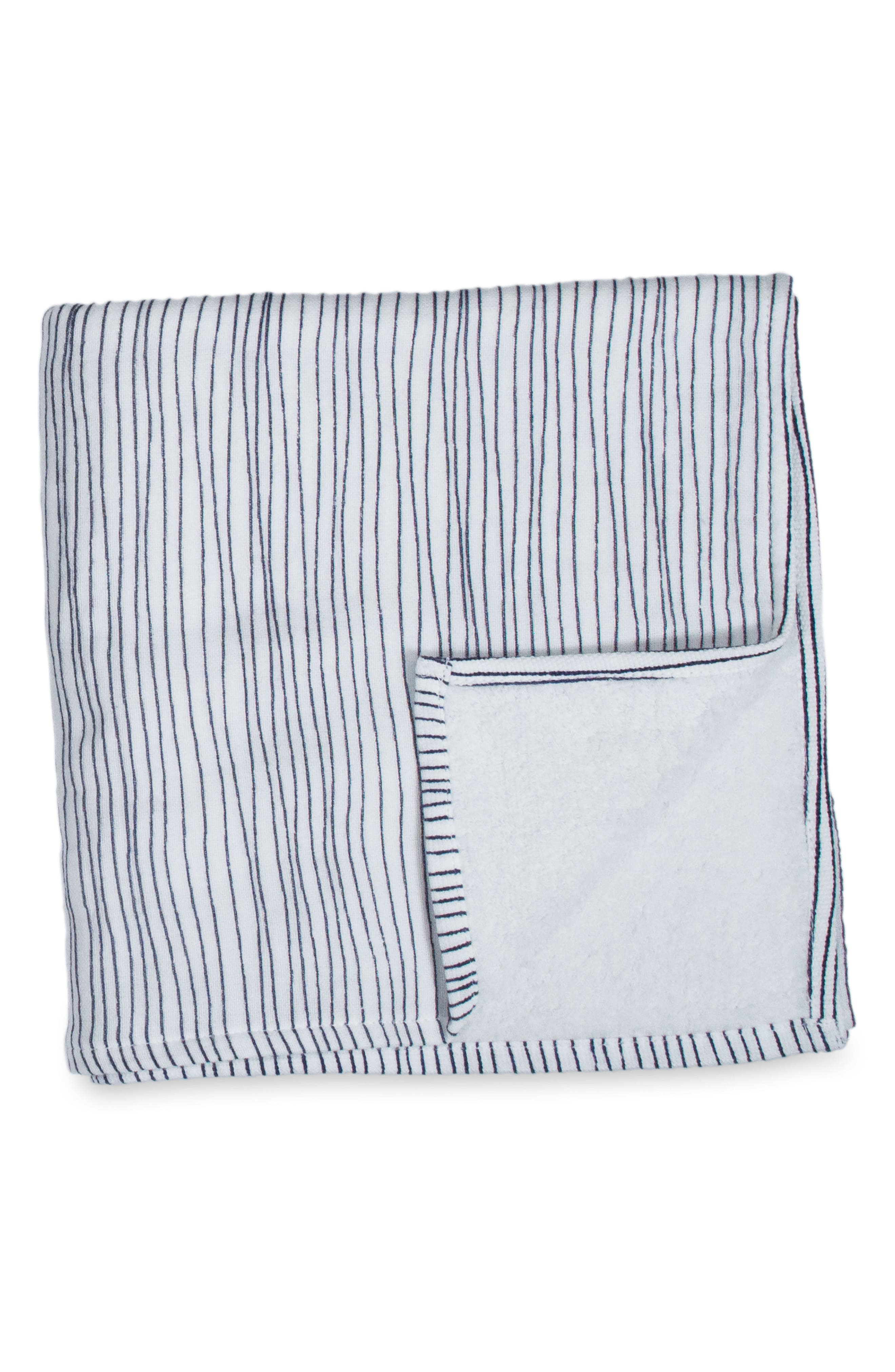 Zero Twist Stripe Washcloth,                             Main thumbnail 1, color,                             Ivory