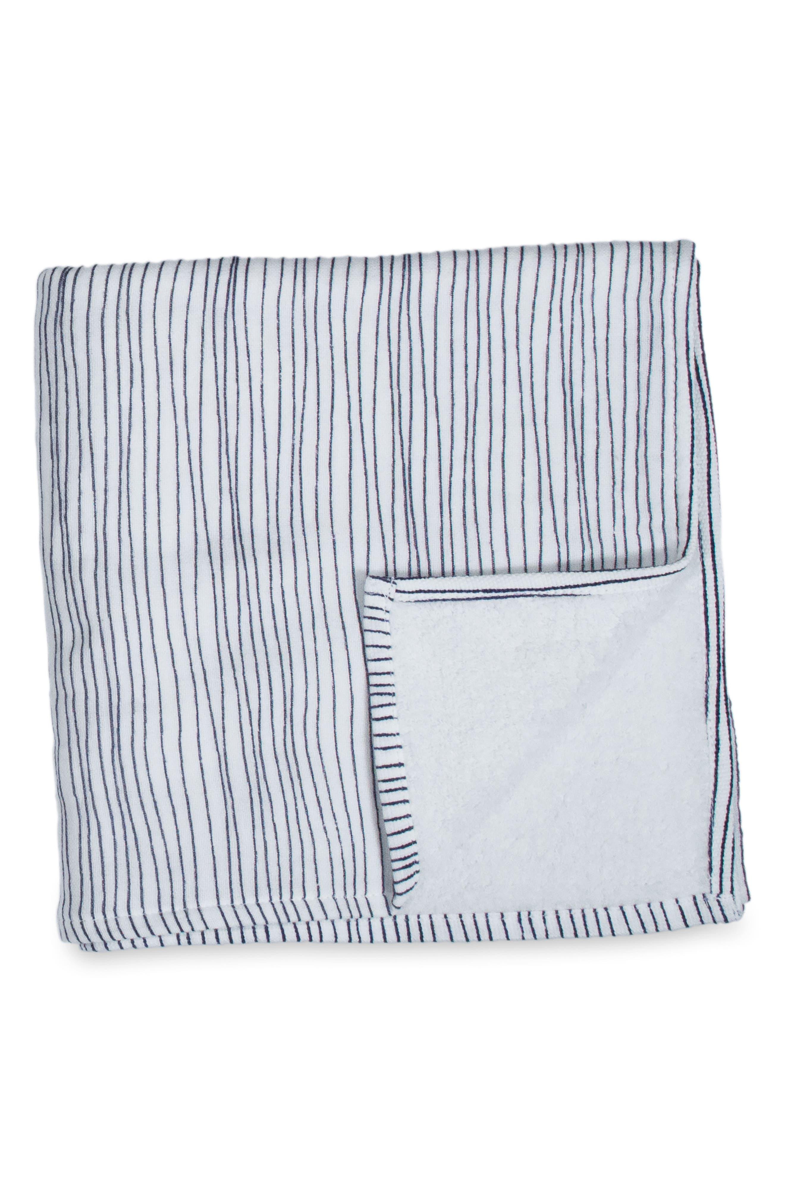 Zero Twist Stripe Washcloth,                         Main,                         color, Ivory