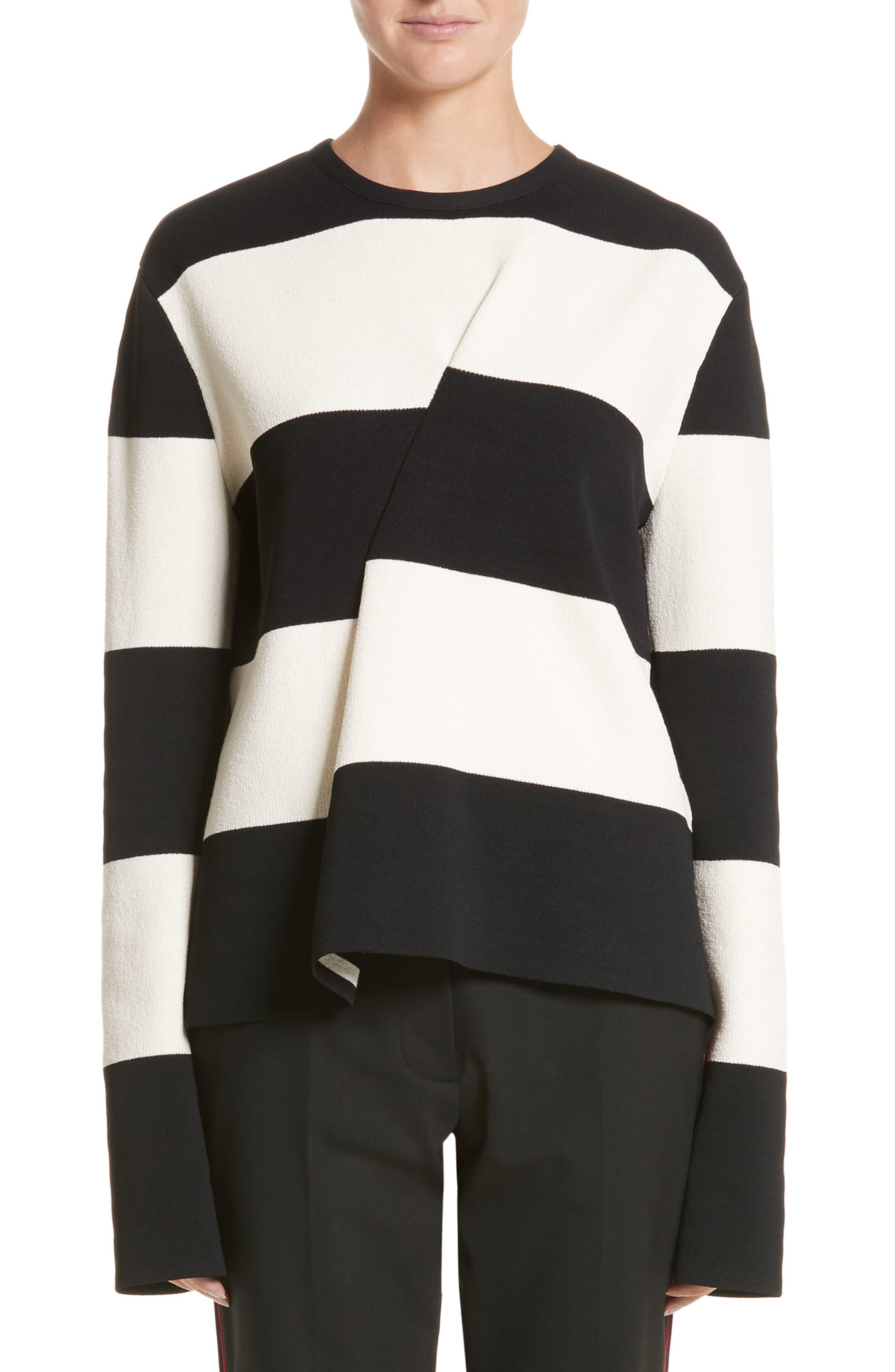 Folded Stripe Sweater,                             Main thumbnail 1, color,                             Ivory/ Black