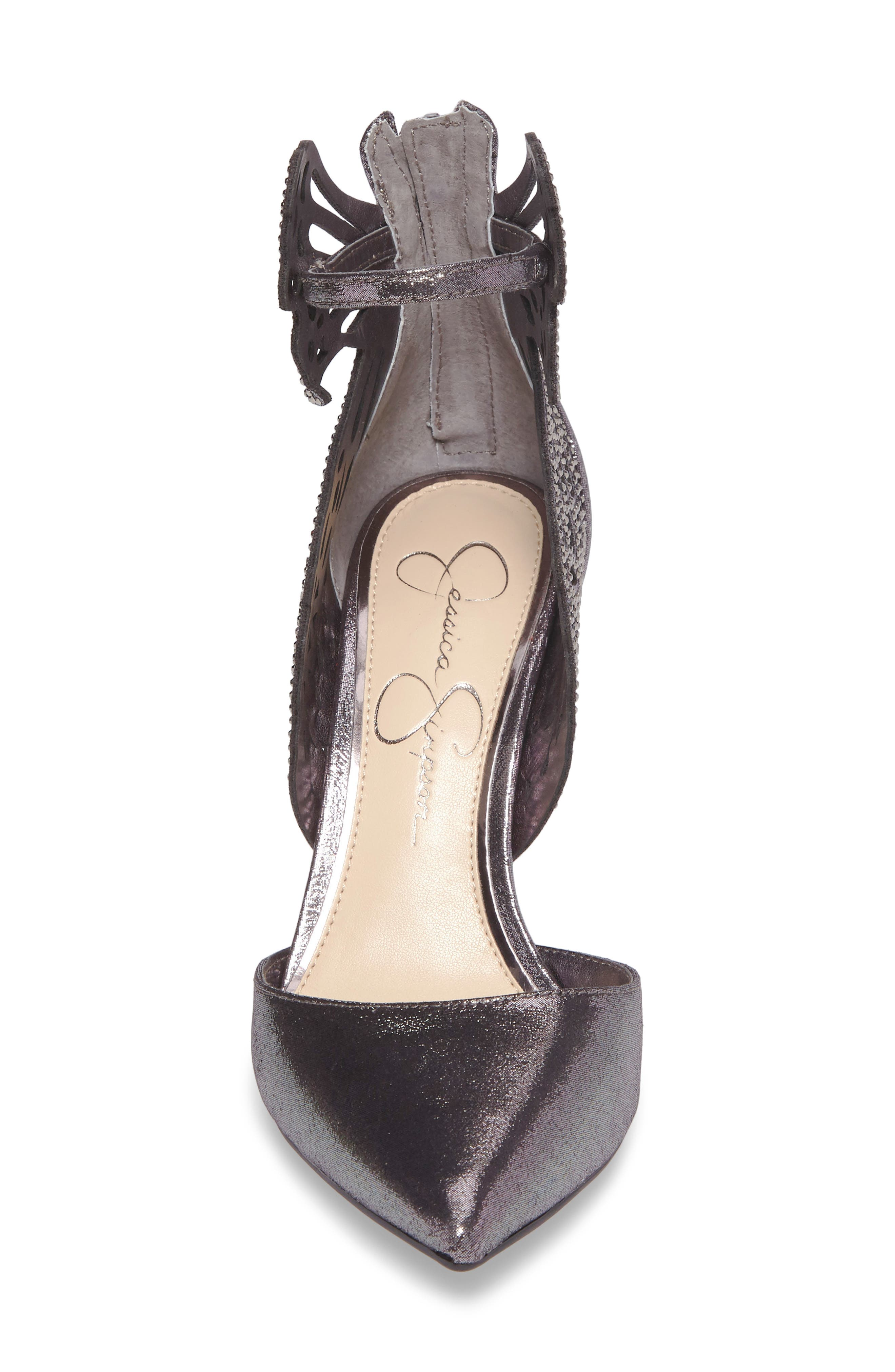 Leasia Butterfly Pump,                             Alternate thumbnail 4, color,                             Pewter Satin