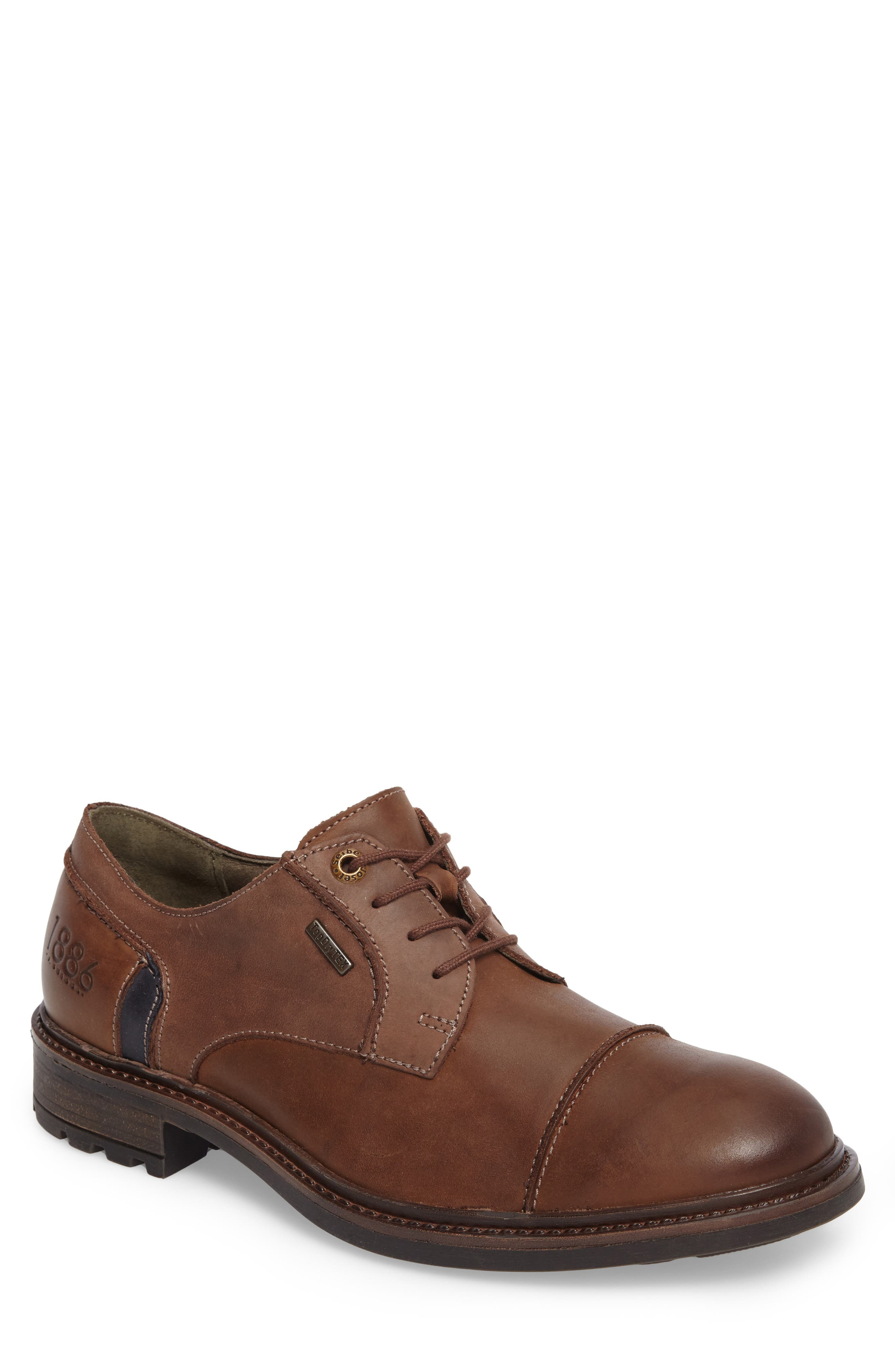 Oscar Waterproof Cap Toe Derby,                             Main thumbnail 1, color,                             Brown Leather