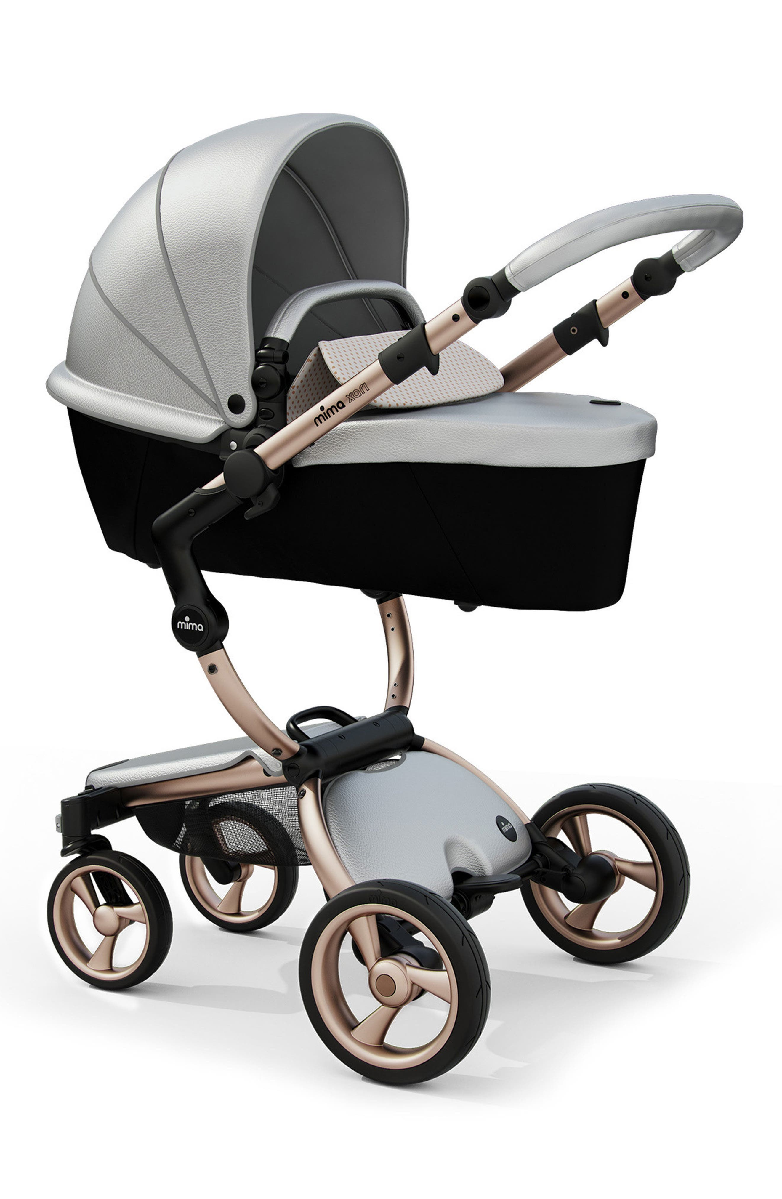 Alternate Image 2  - Mima Xari Rose Gold Chassis Stroller with Reversible Reclining Seat & Carrycot