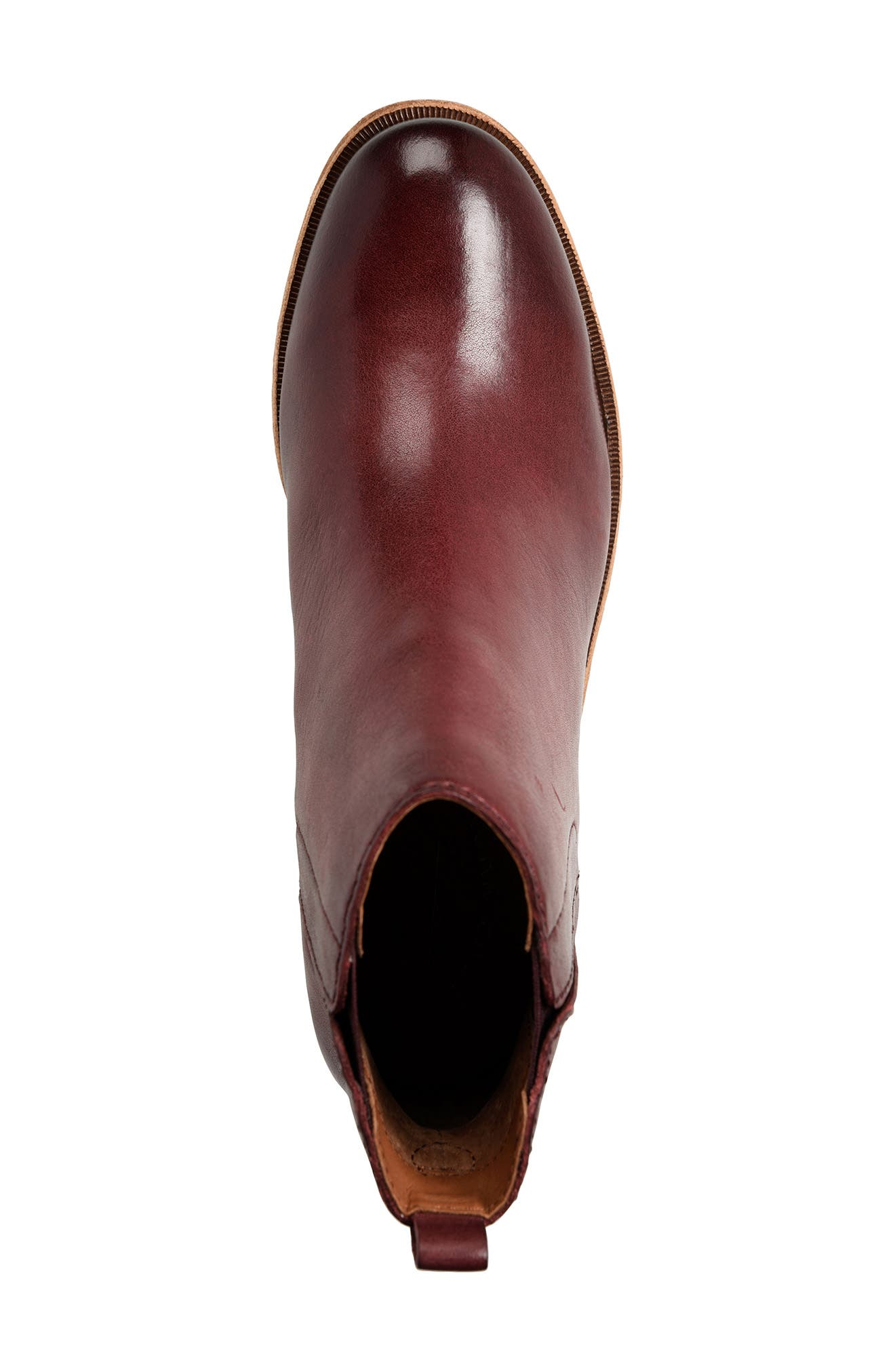 Mindo Chelsea Bootie,                             Alternate thumbnail 5, color,                             Burgundy Leather