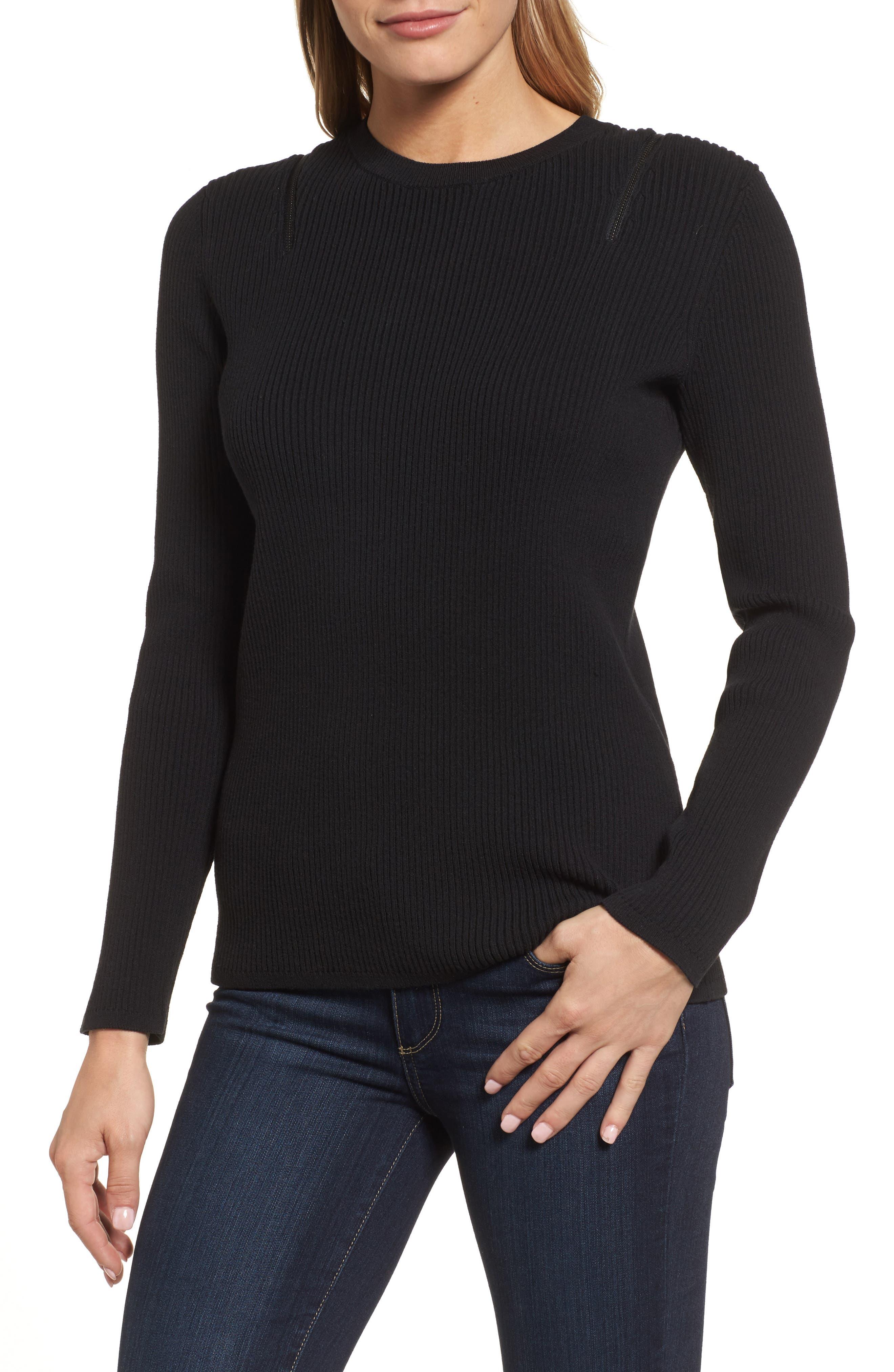 Zip Shoulder Ribbed Sweater,                         Main,                         color, Black