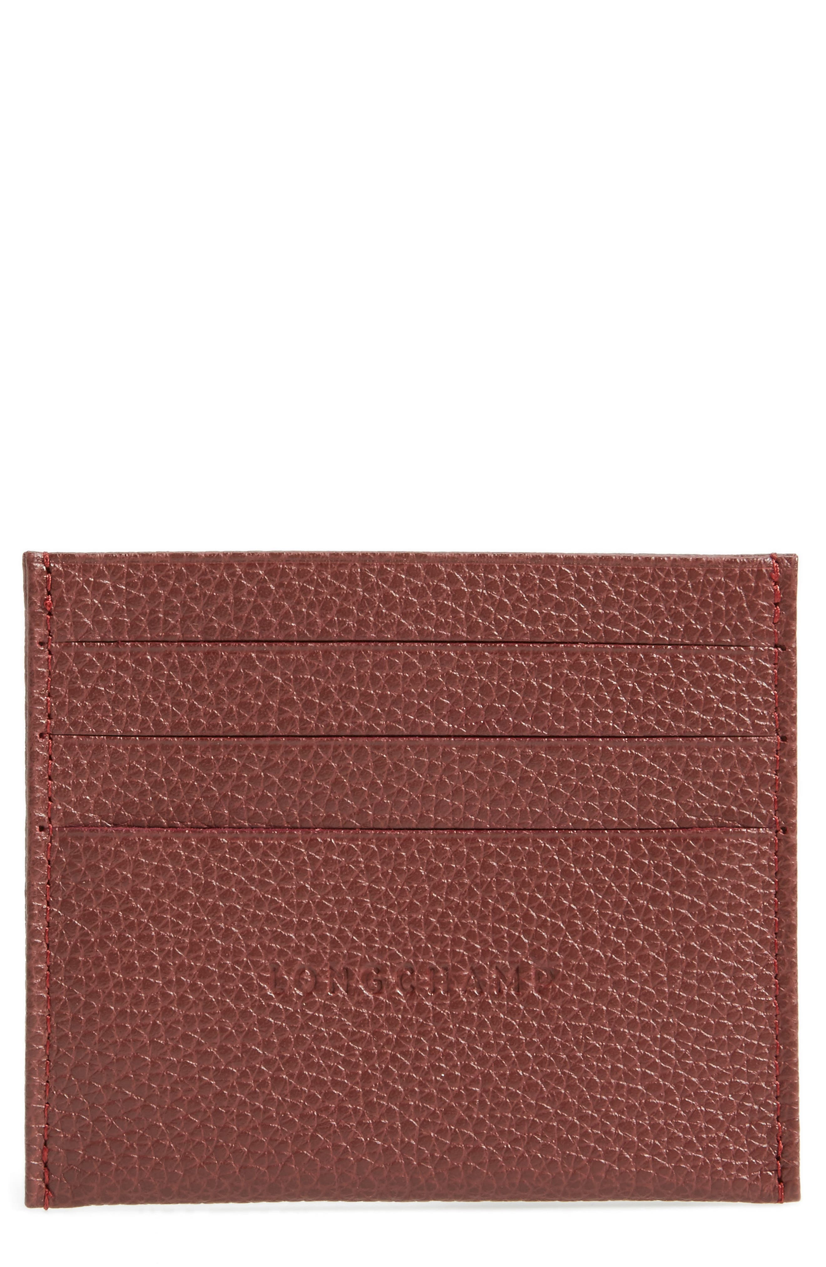 'Le Foulonne' Pebbled Leather Card Holder,                             Main thumbnail 1, color,                             Red Lacquer