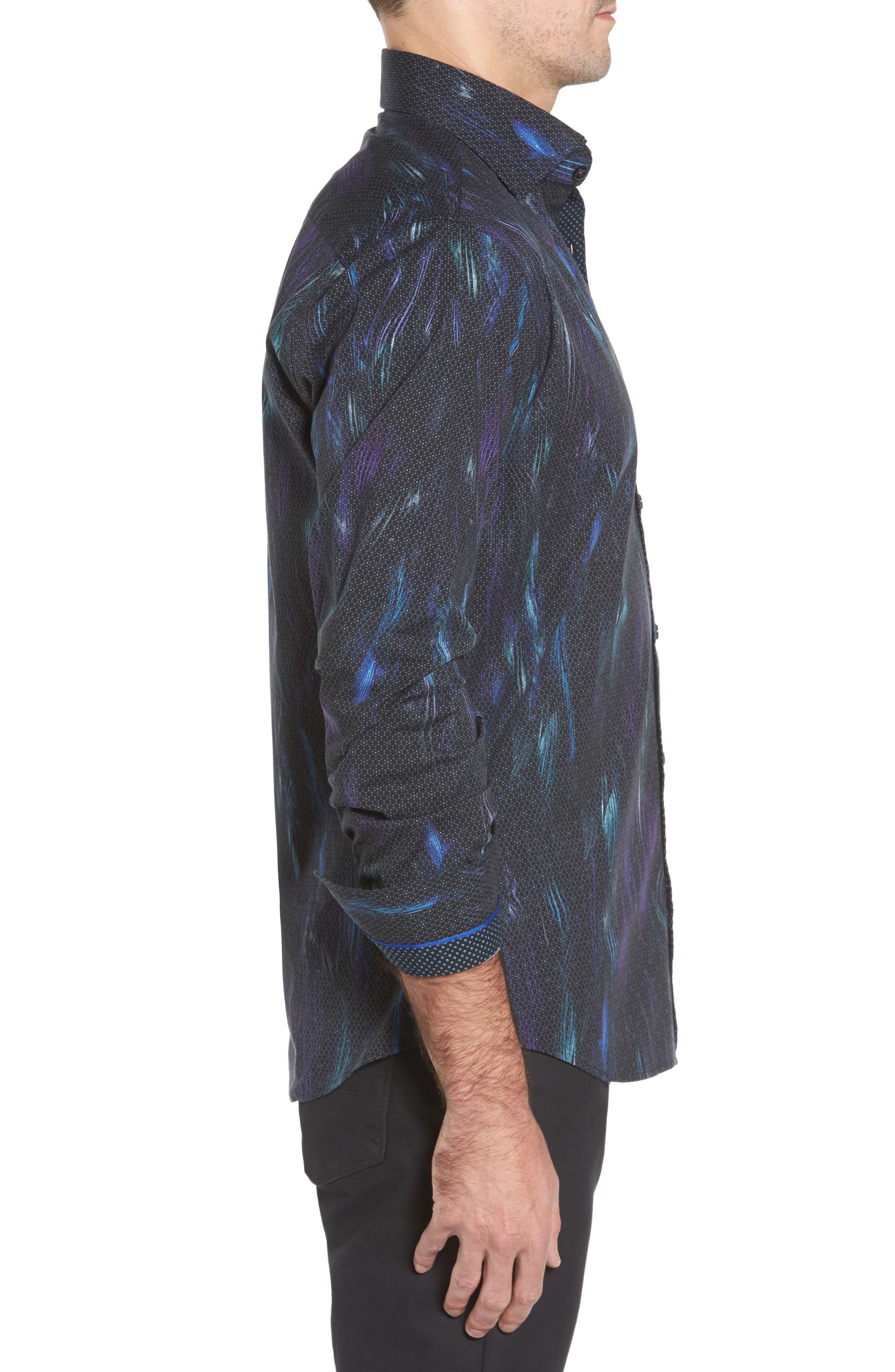 Slim Fit Geo FX Print Sport Shirt,                             Alternate thumbnail 3, color,                             Black