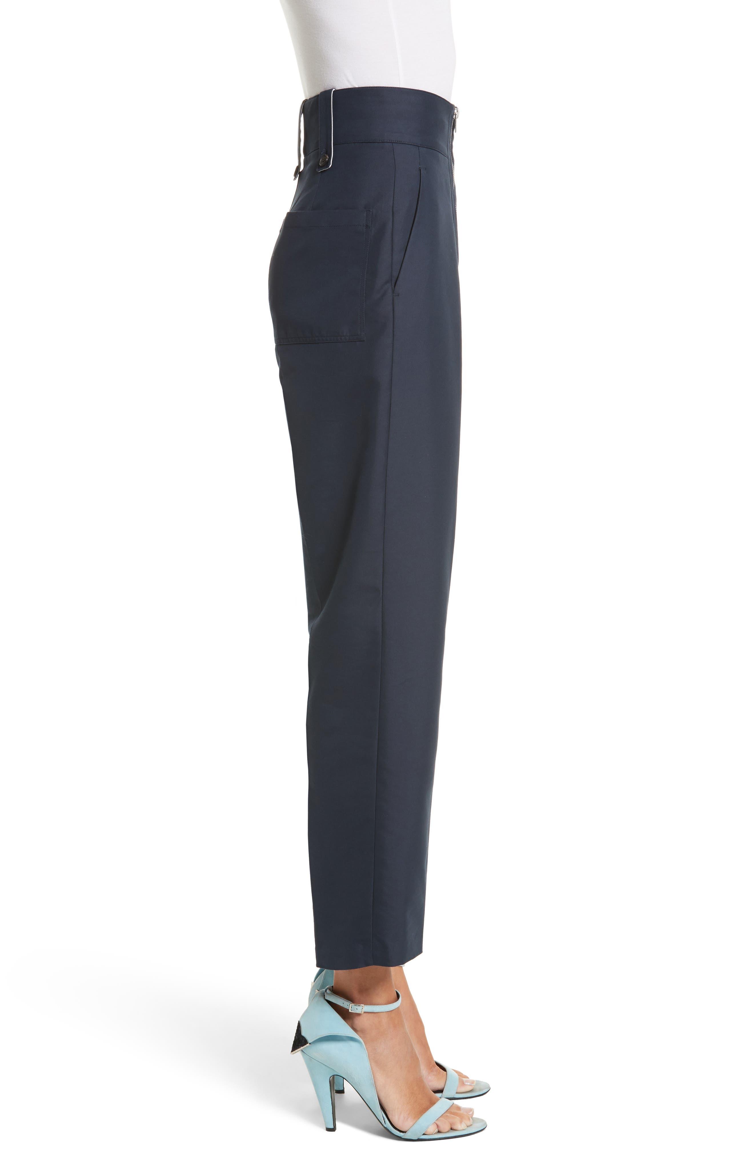 Cotton & Silk Sailor Pants,                             Alternate thumbnail 4, color,                             Navy