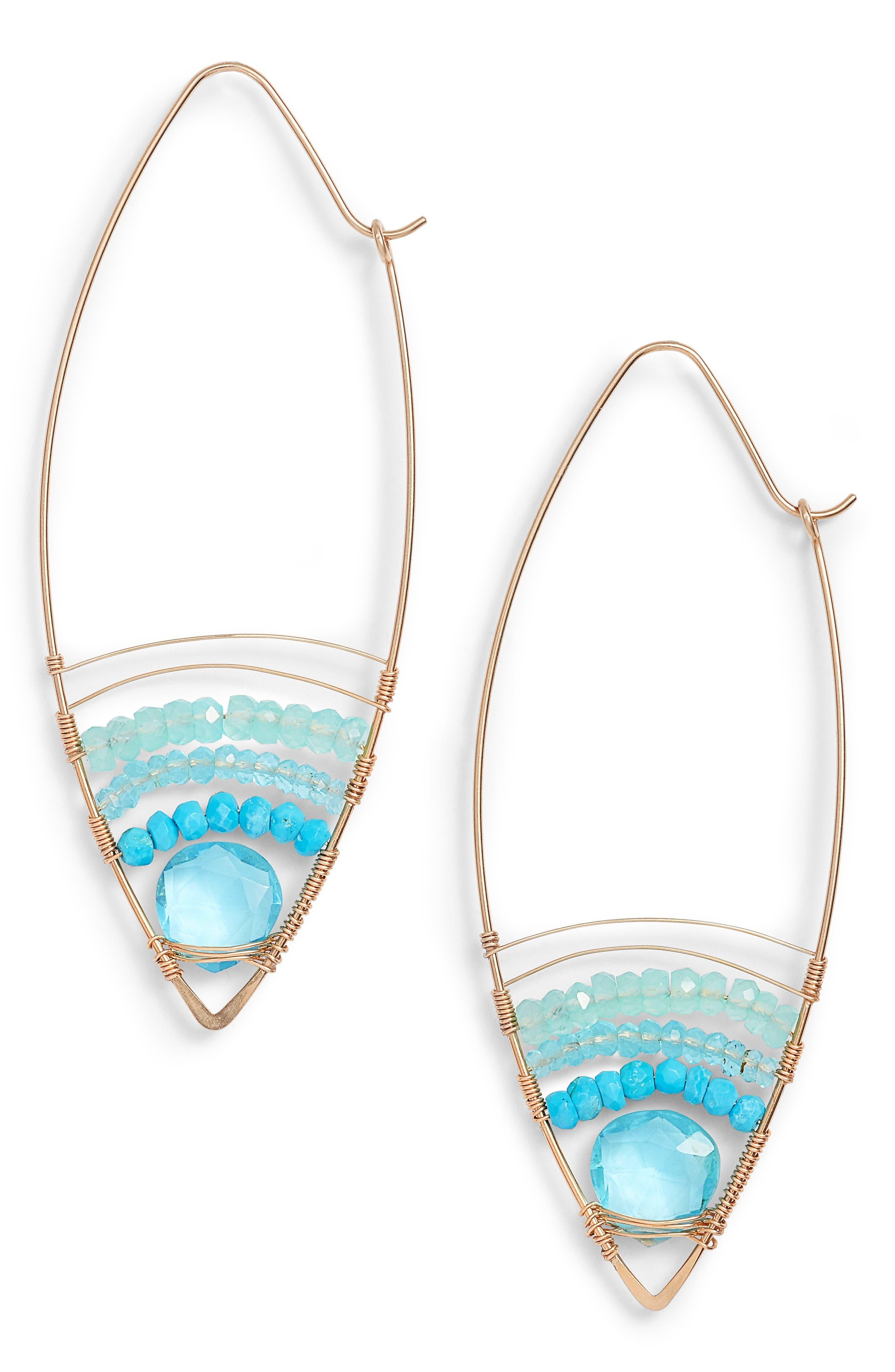 Cabana Golden Sand Oblong Hoop Earrings,                             Main thumbnail 1, color,                             Gold Blue
