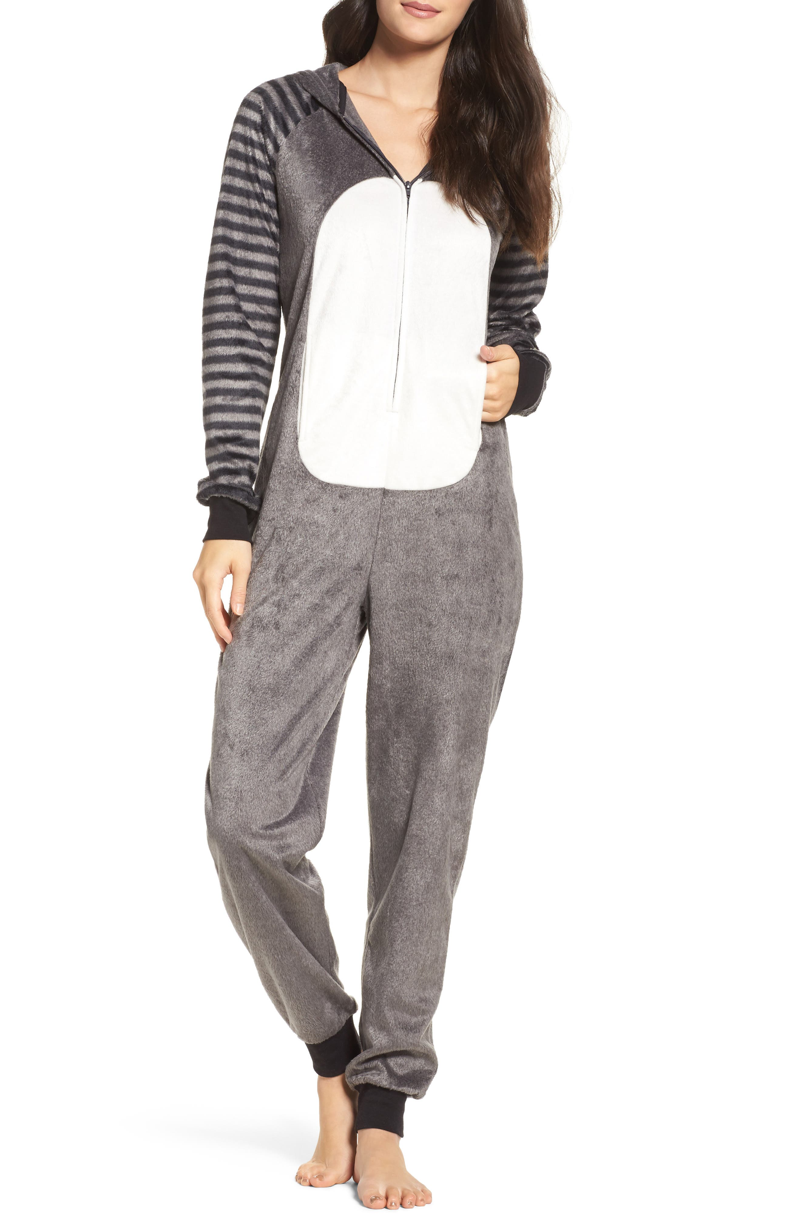 Hooded Jumpsuit,                         Main,                         color, Charcoal