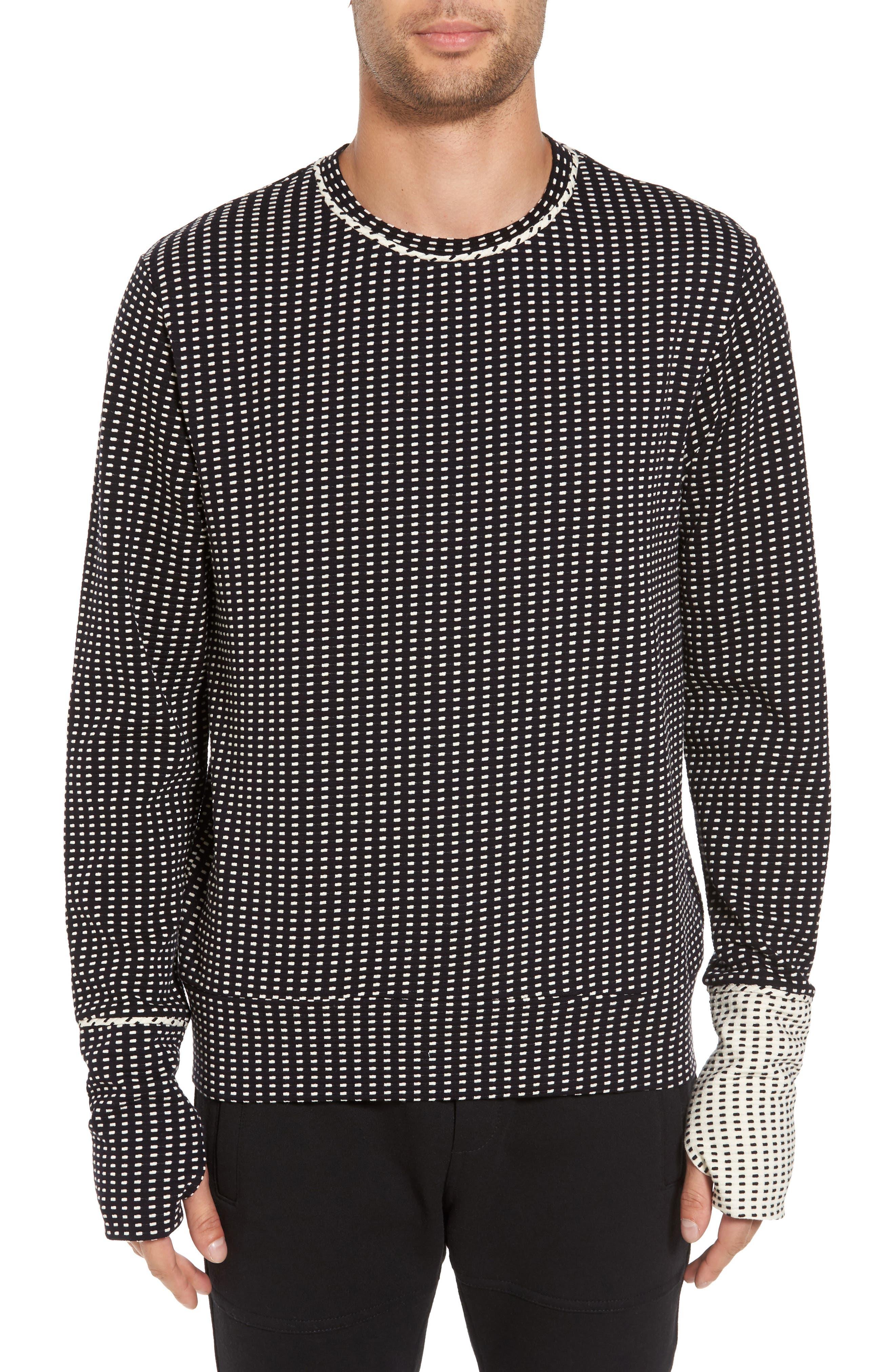 Two-Tone Crewneck Sweater,                         Main,                         color, Black