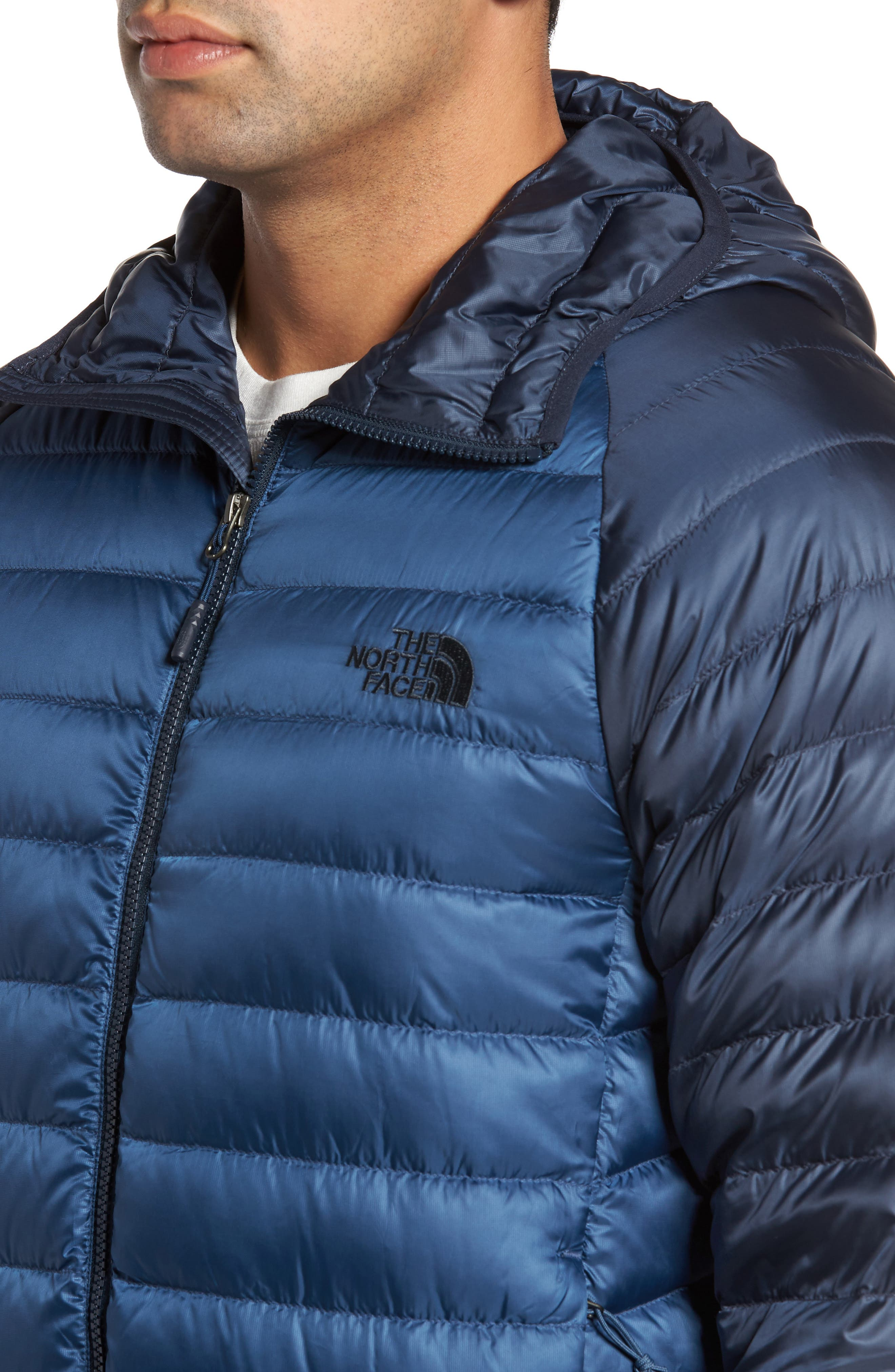 Trevail Water Repellent Packable 800-Fill-Power Down Hooded Jacket,                             Alternate thumbnail 4, color,                             Shady Blue/ Urban Navy