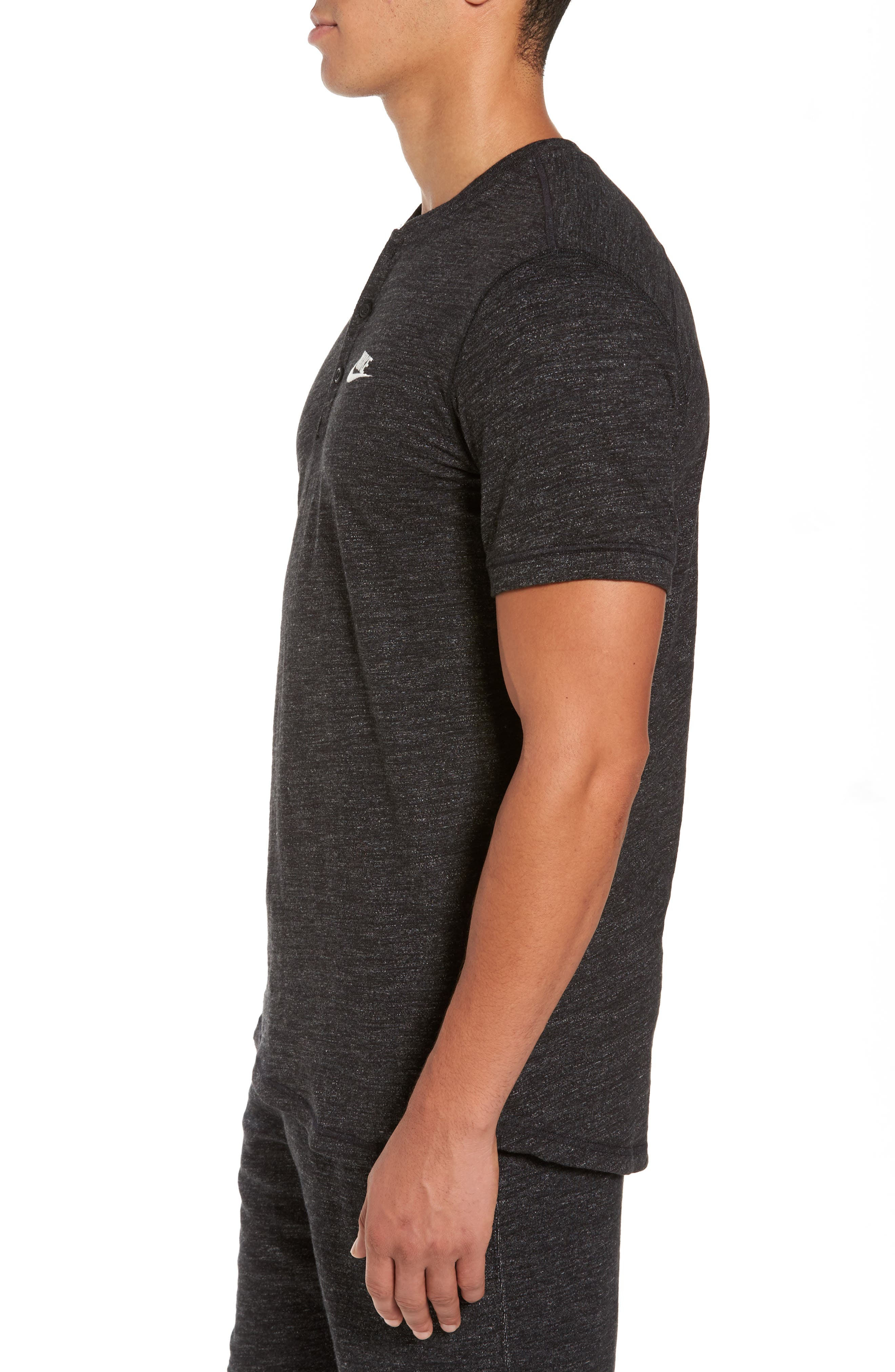 Legacy Knit Henley,                             Alternate thumbnail 3, color,                             Black Heather/ Sail
