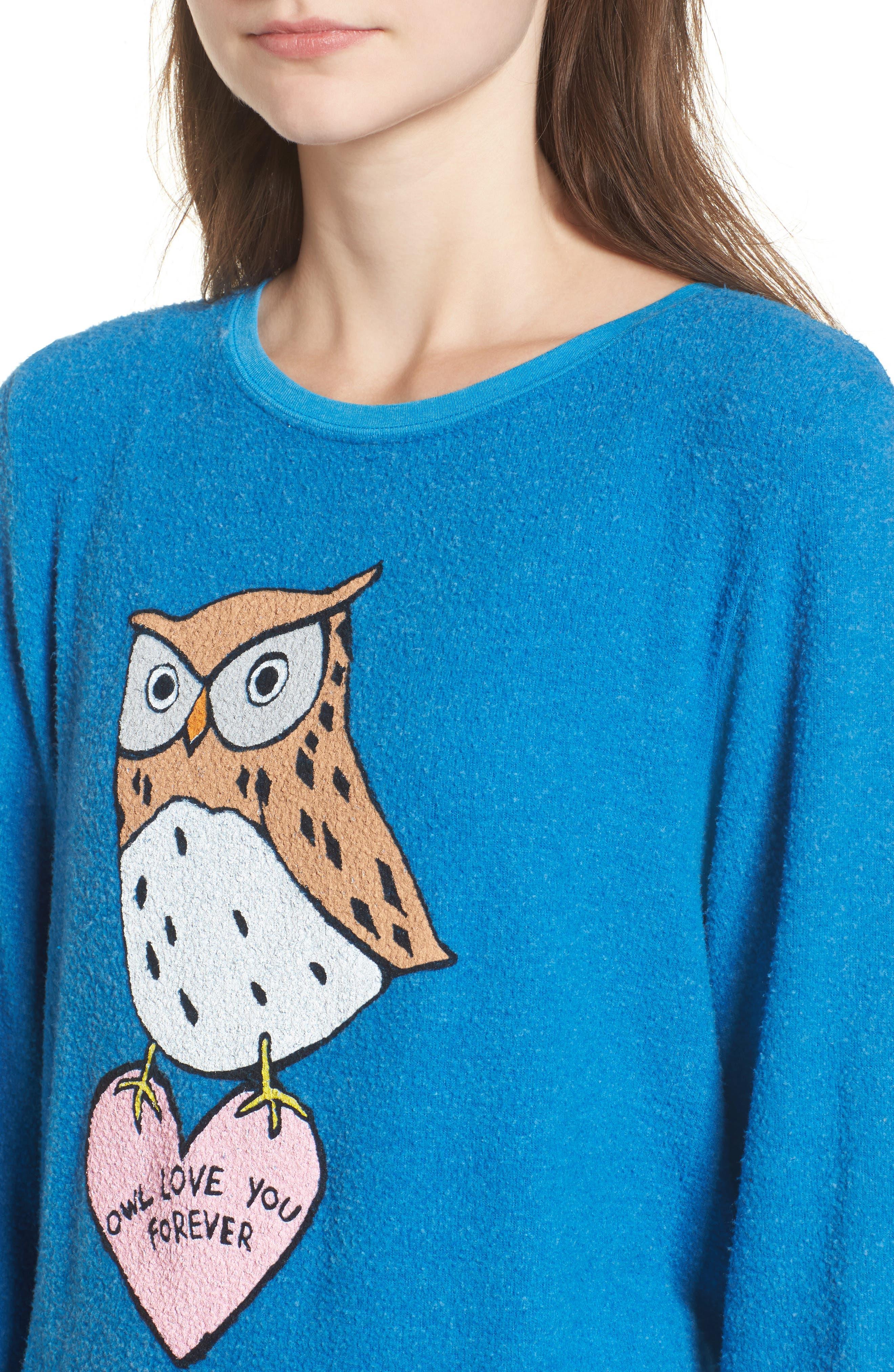 Owl Love You Forever Sweatshirt,                             Alternate thumbnail 4, color,                             Cobalt Sea