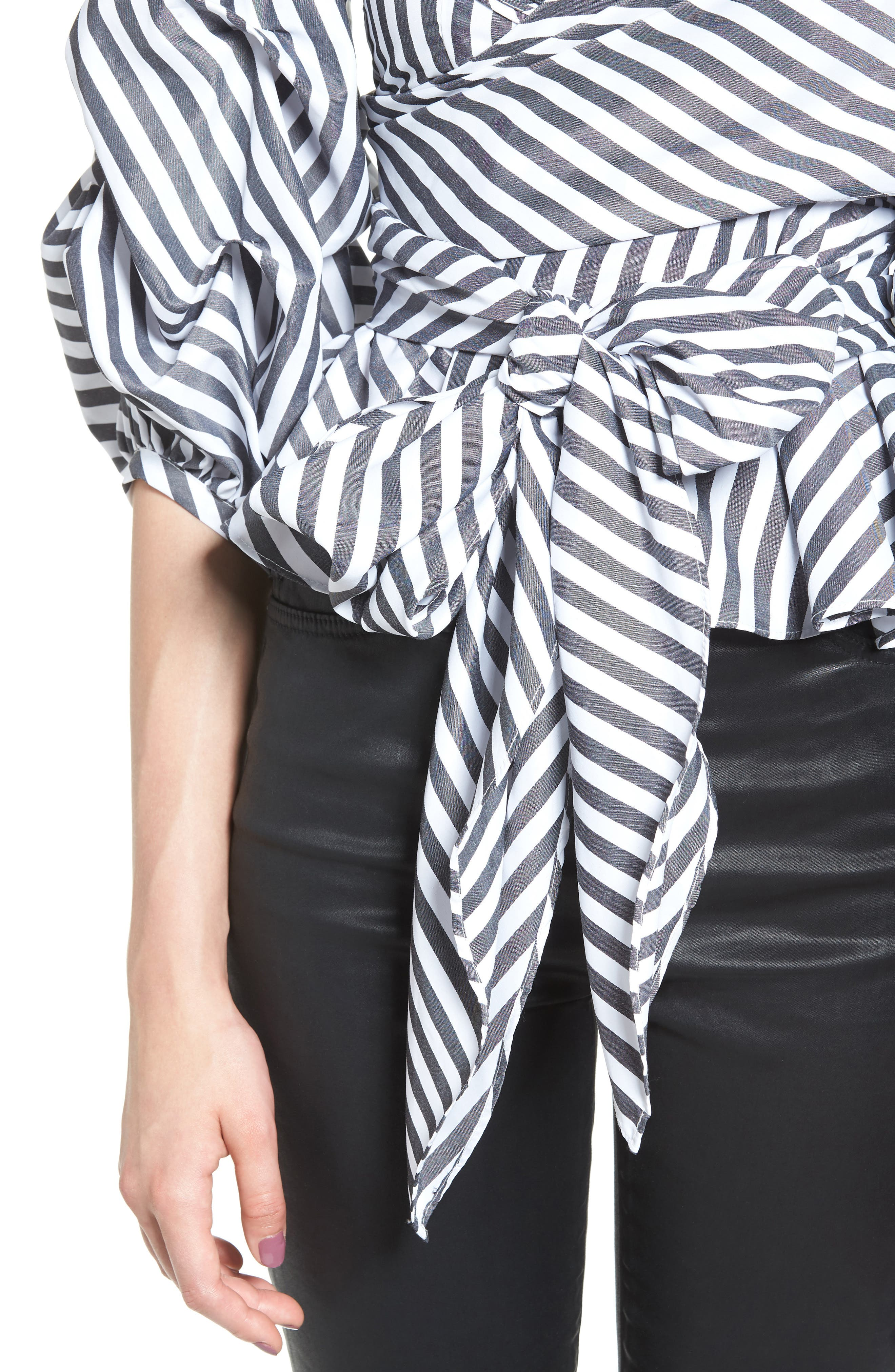 The Lovers Lane Top,                             Alternate thumbnail 4, color,                             Striped Charcoal