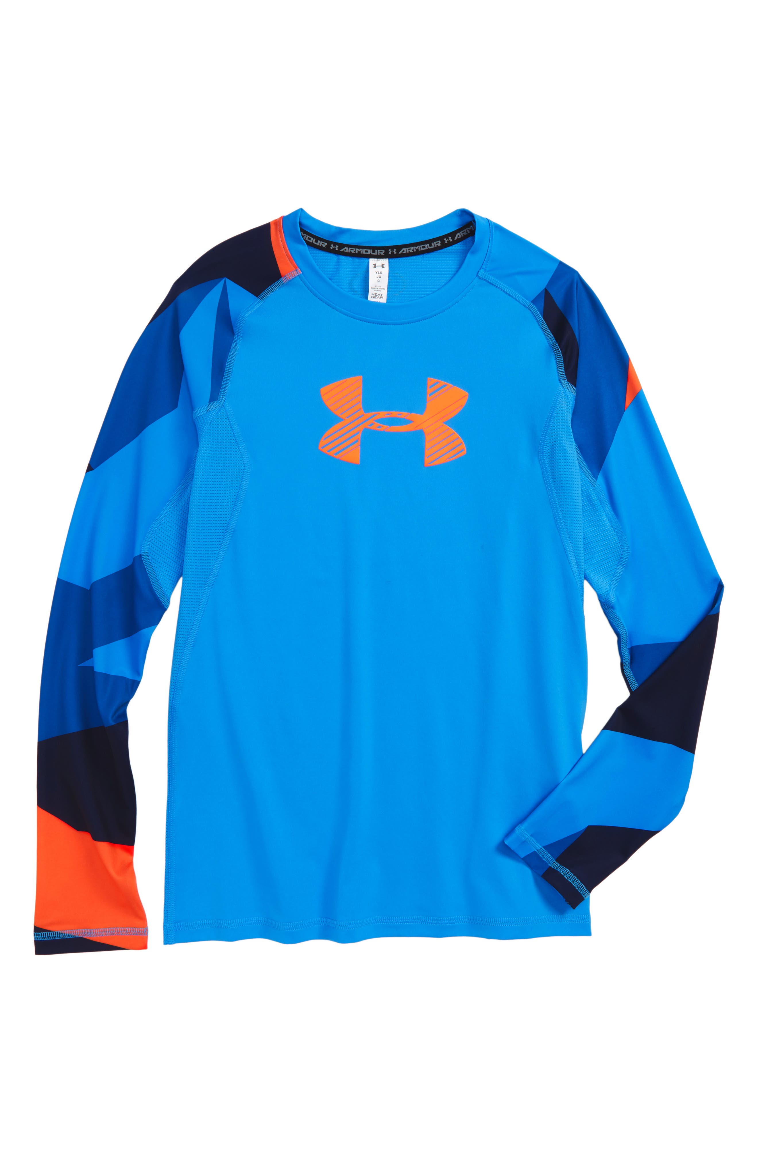 Novelty HeatGear<sup>®</sup> Shirt,                             Main thumbnail 1, color,                             Blue/ Magma Orange