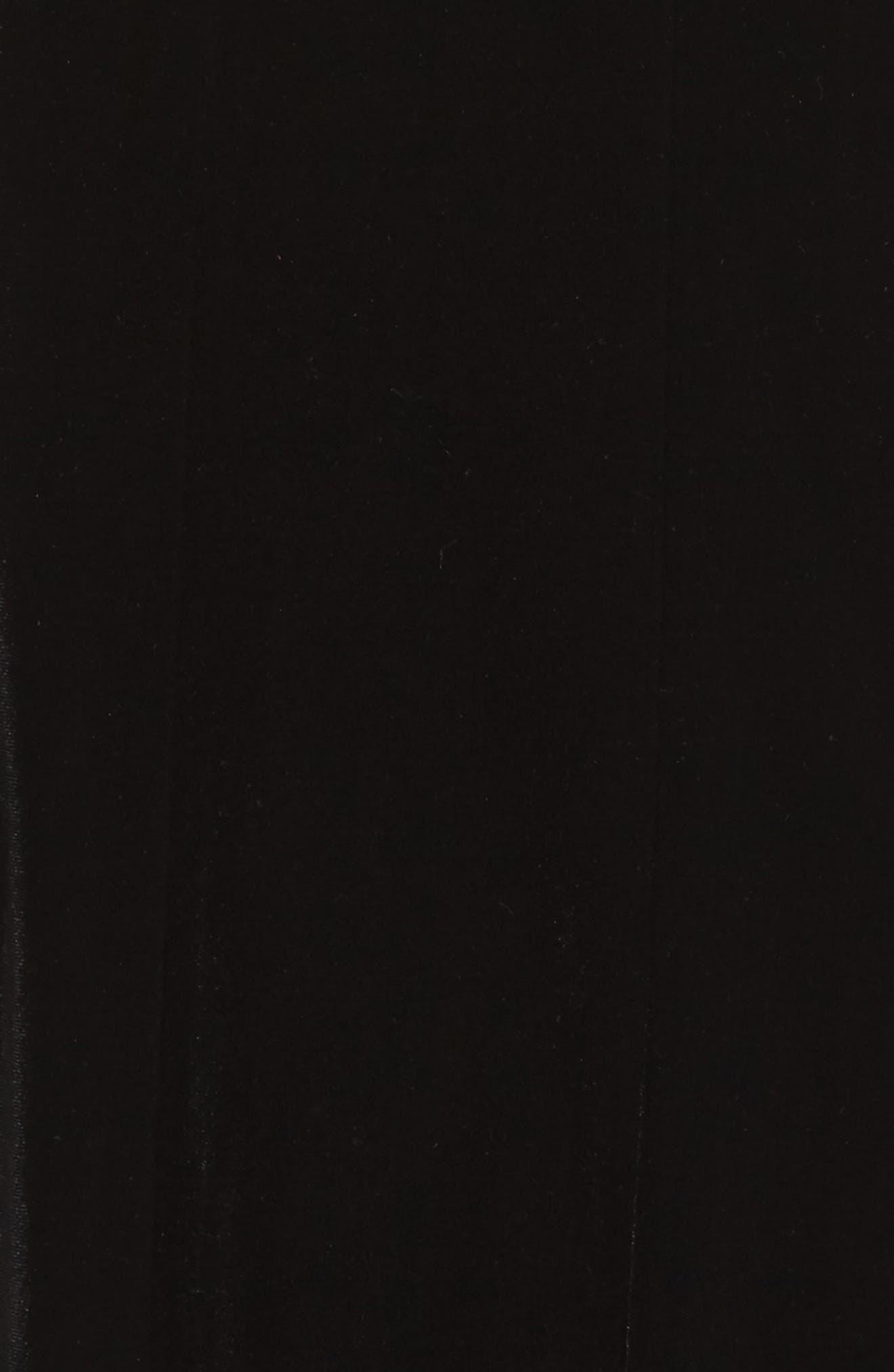 Embellished Deep V-Neck Velvet Gown,                             Alternate thumbnail 5, color,                             Black