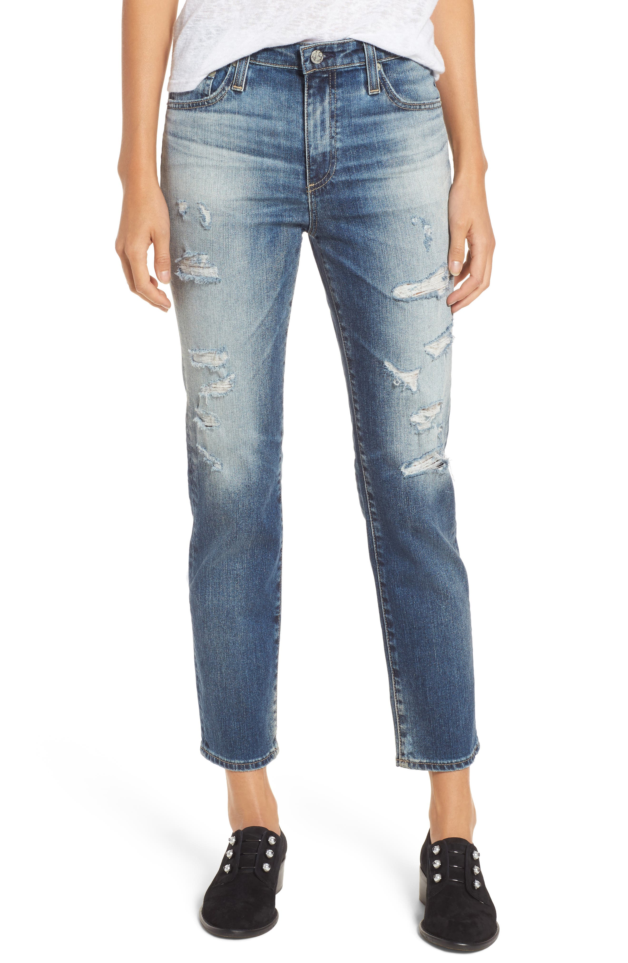 AG The Isabelle High Waist Crop Straight Leg Jeans (17 Years Free Spirit)