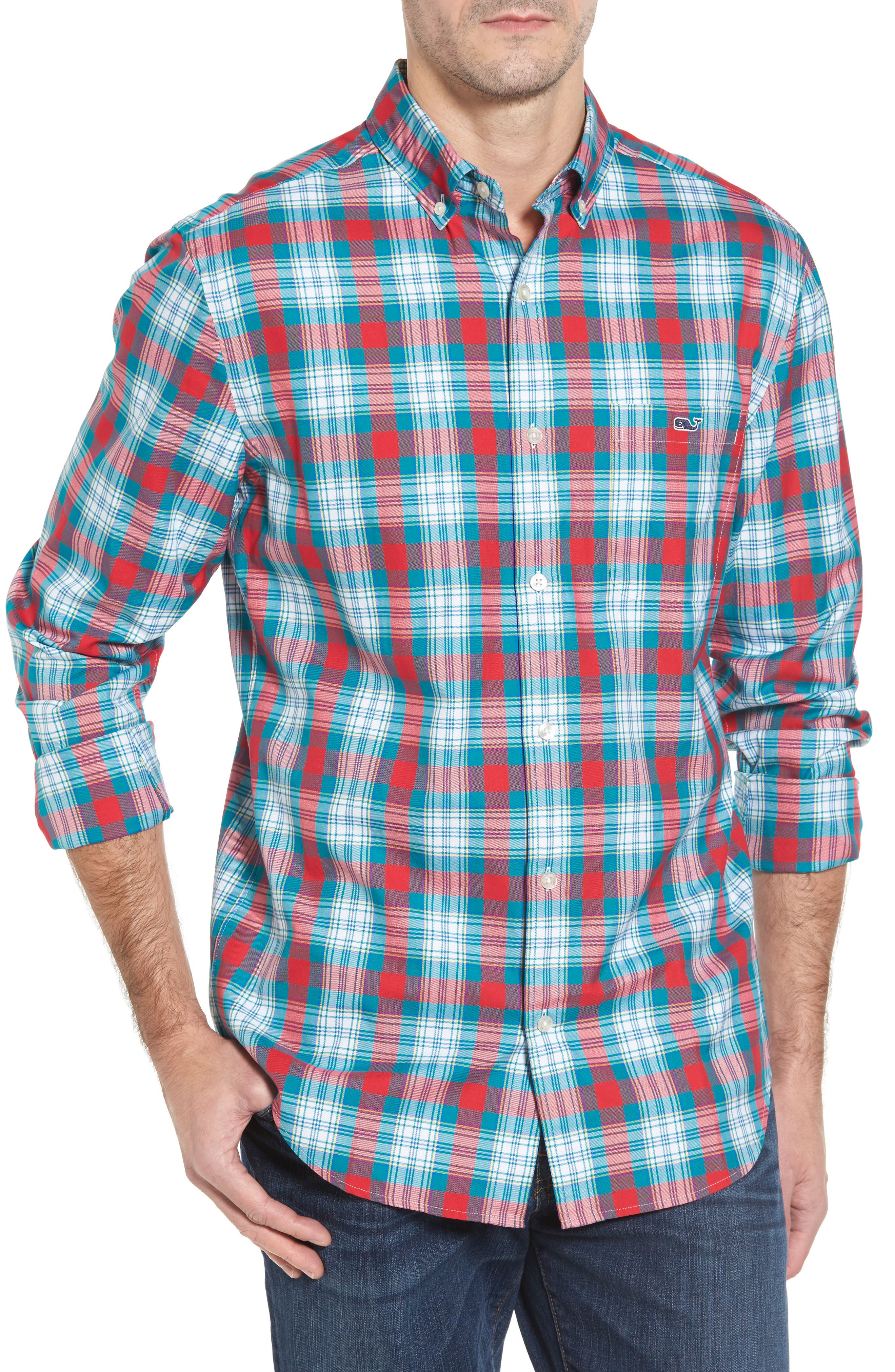 Elmwood Classic Fit Plaid Sport Shirt,                         Main,                         color, Cape Teal