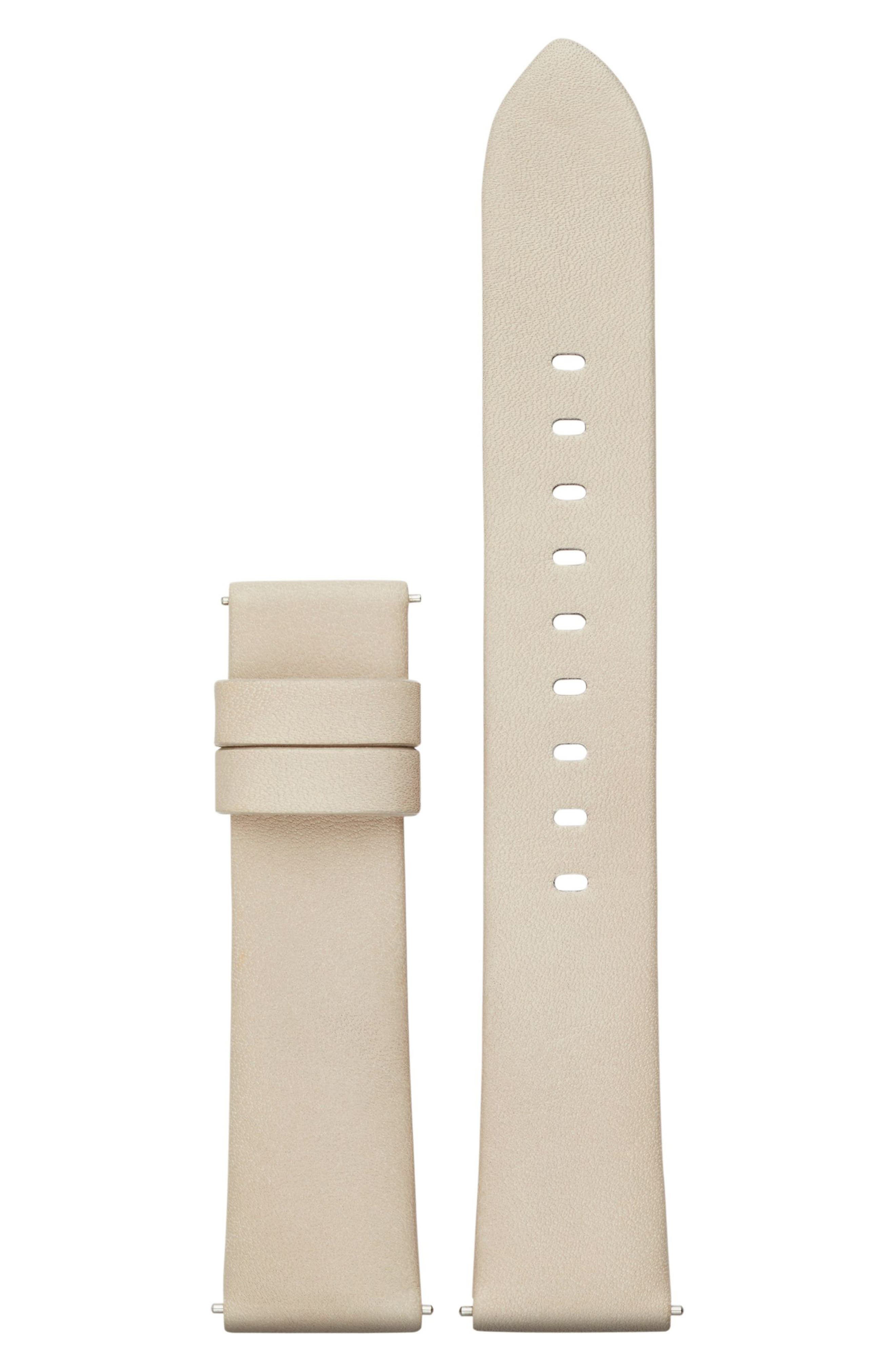Sofie 18mm Leather Watch Strap,                         Main,                         color, Putty