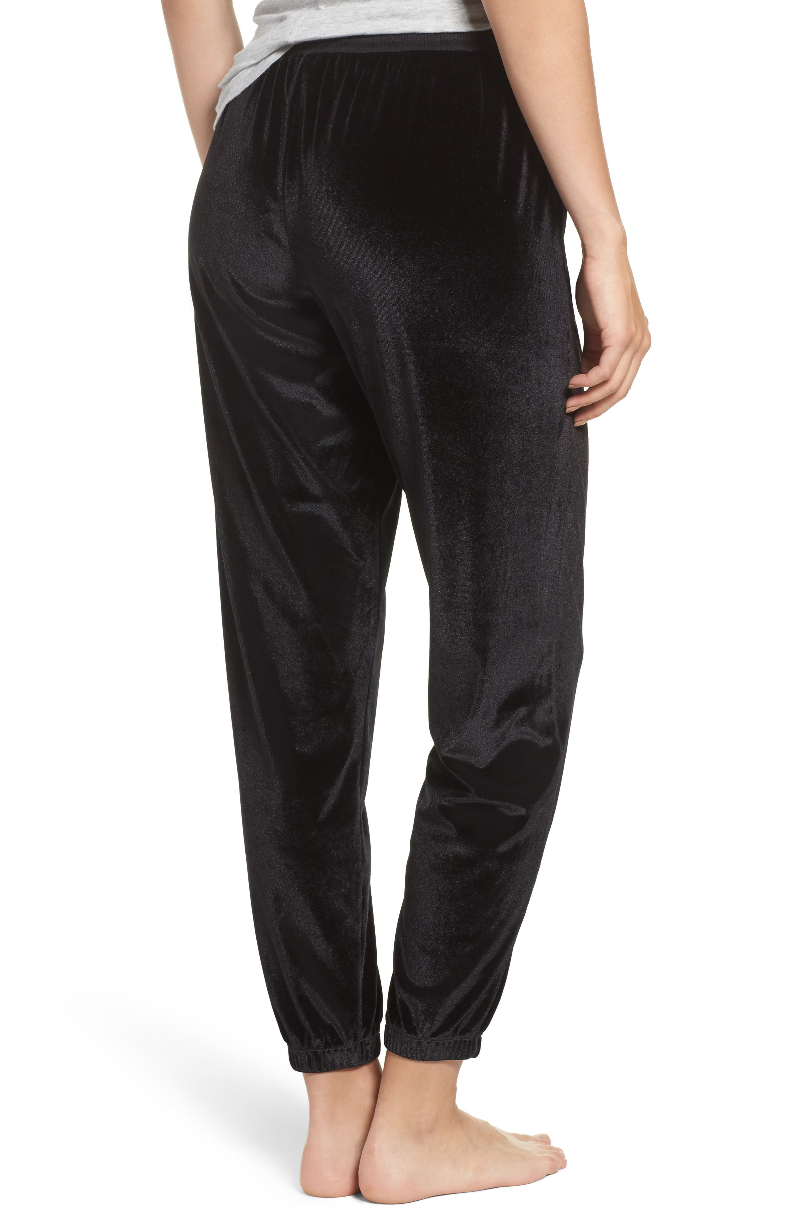 Velour Lounge Jogger Pants,                             Alternate thumbnail 2, color,                             Black