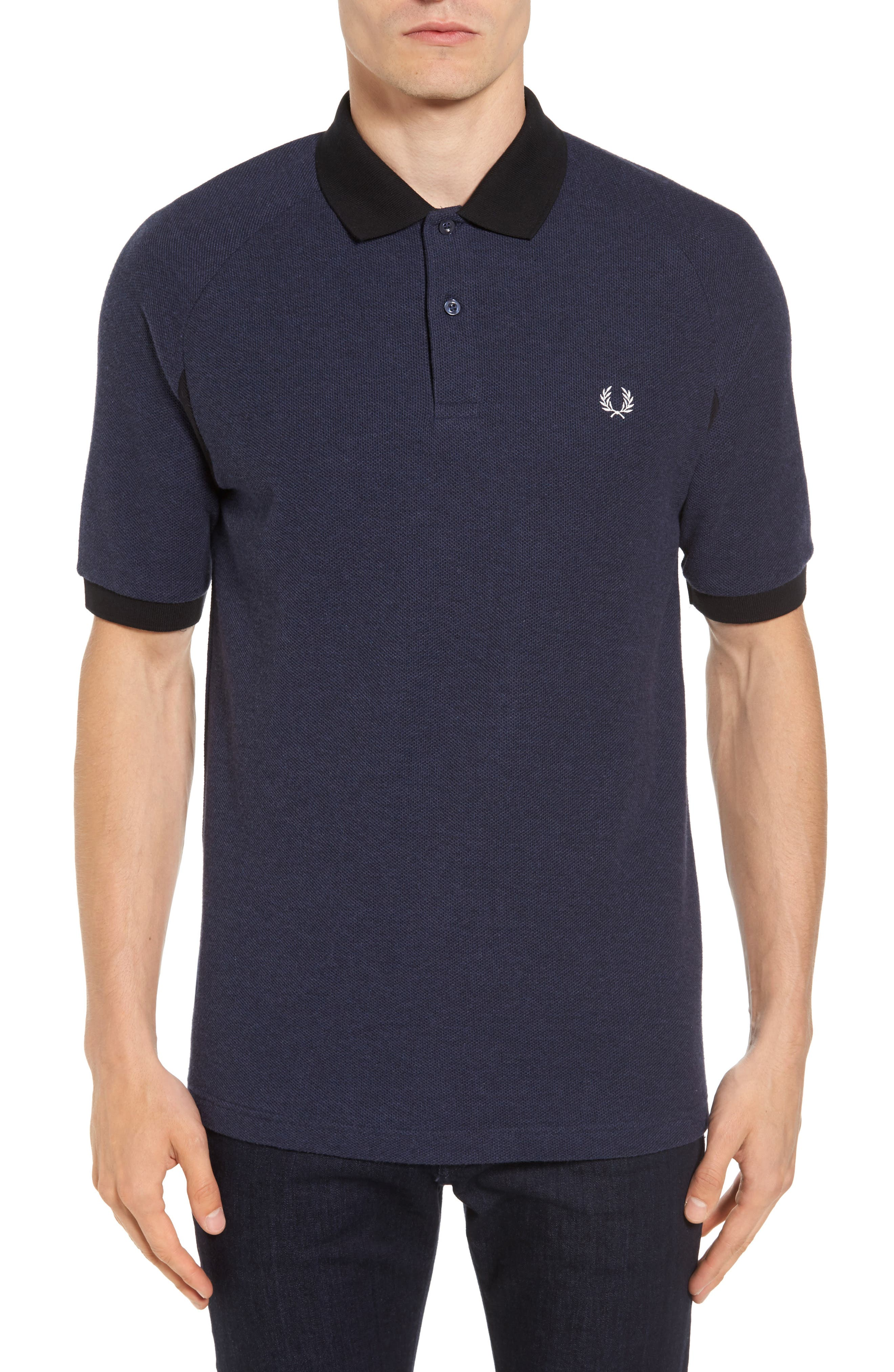 Colorblock Piqué Polo,                         Main,                         color, Twisted French Navy Marl