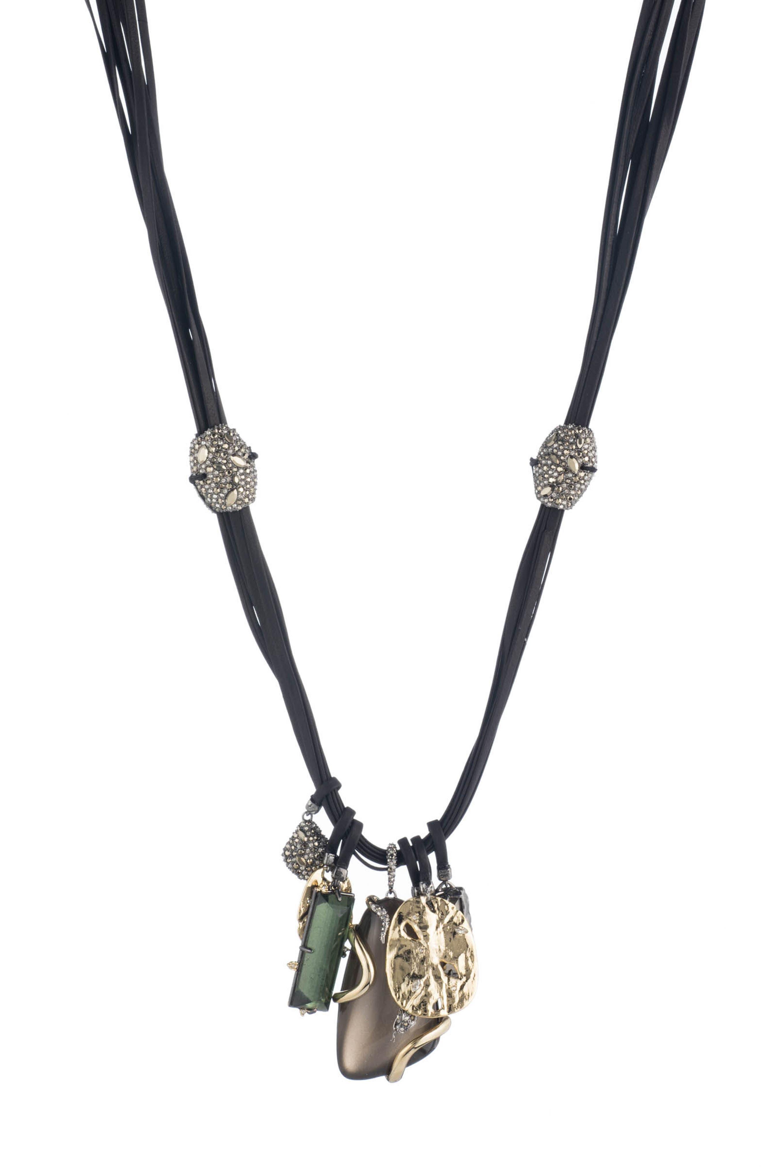 Lucite<sup>®</sup> Charm Necklace,                         Main,                         color, Warm Grey