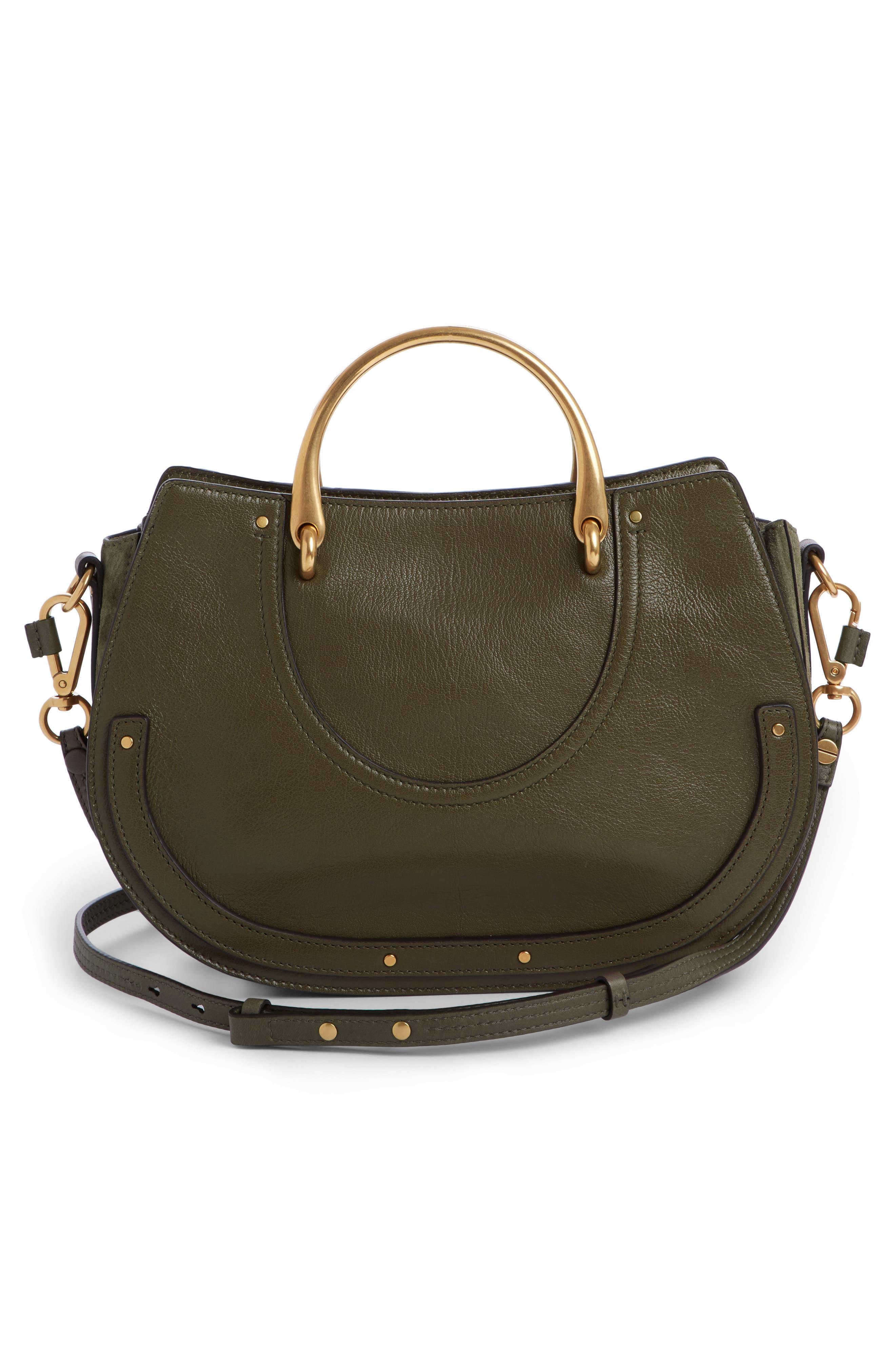 Medium Pixie Top Handle Leather Satchel,                             Alternate thumbnail 2, color,                             Intense Green