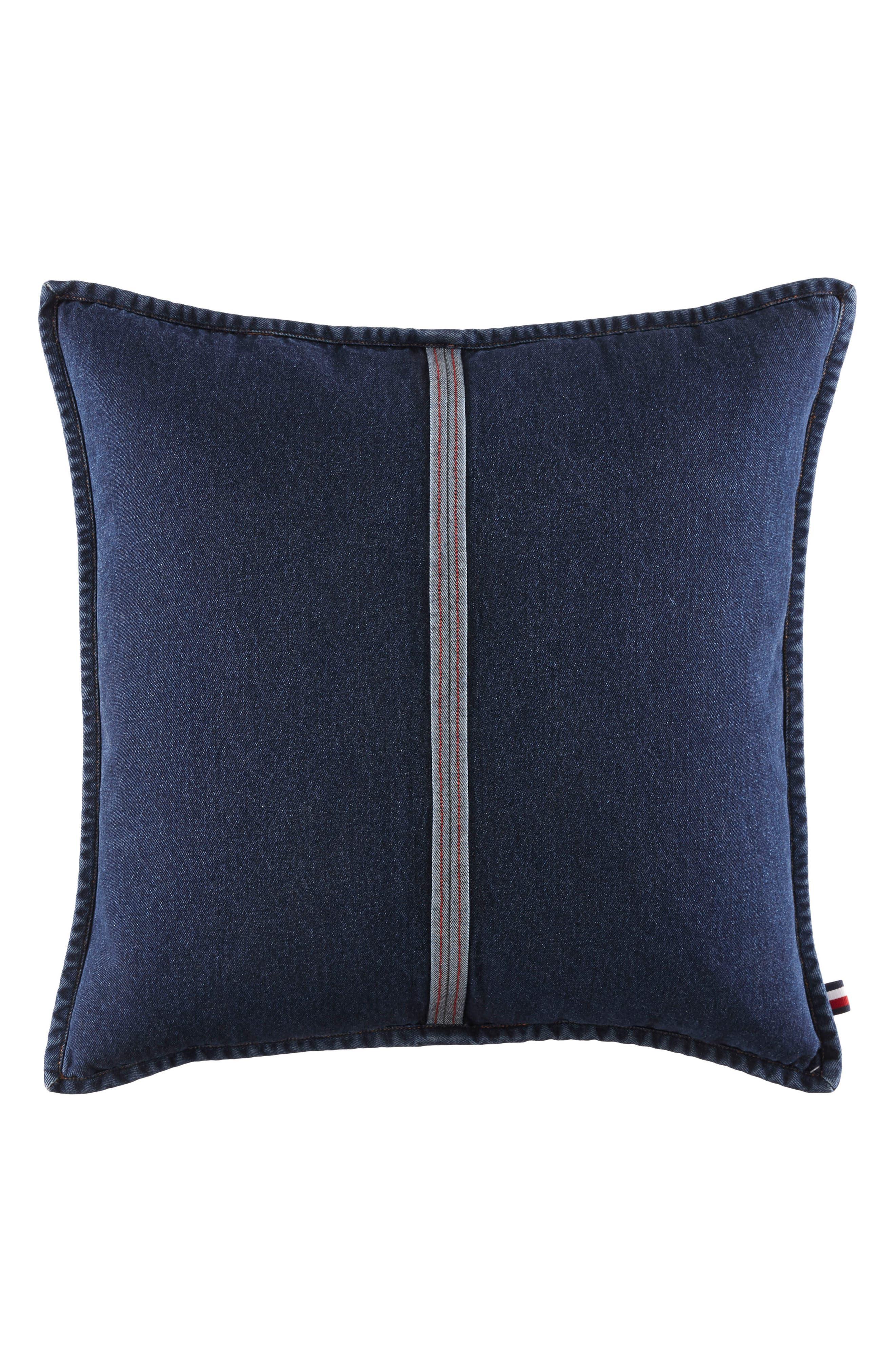 Selvage Stripe Denim Accent Pillow,                         Main,                         color, Denim Blue