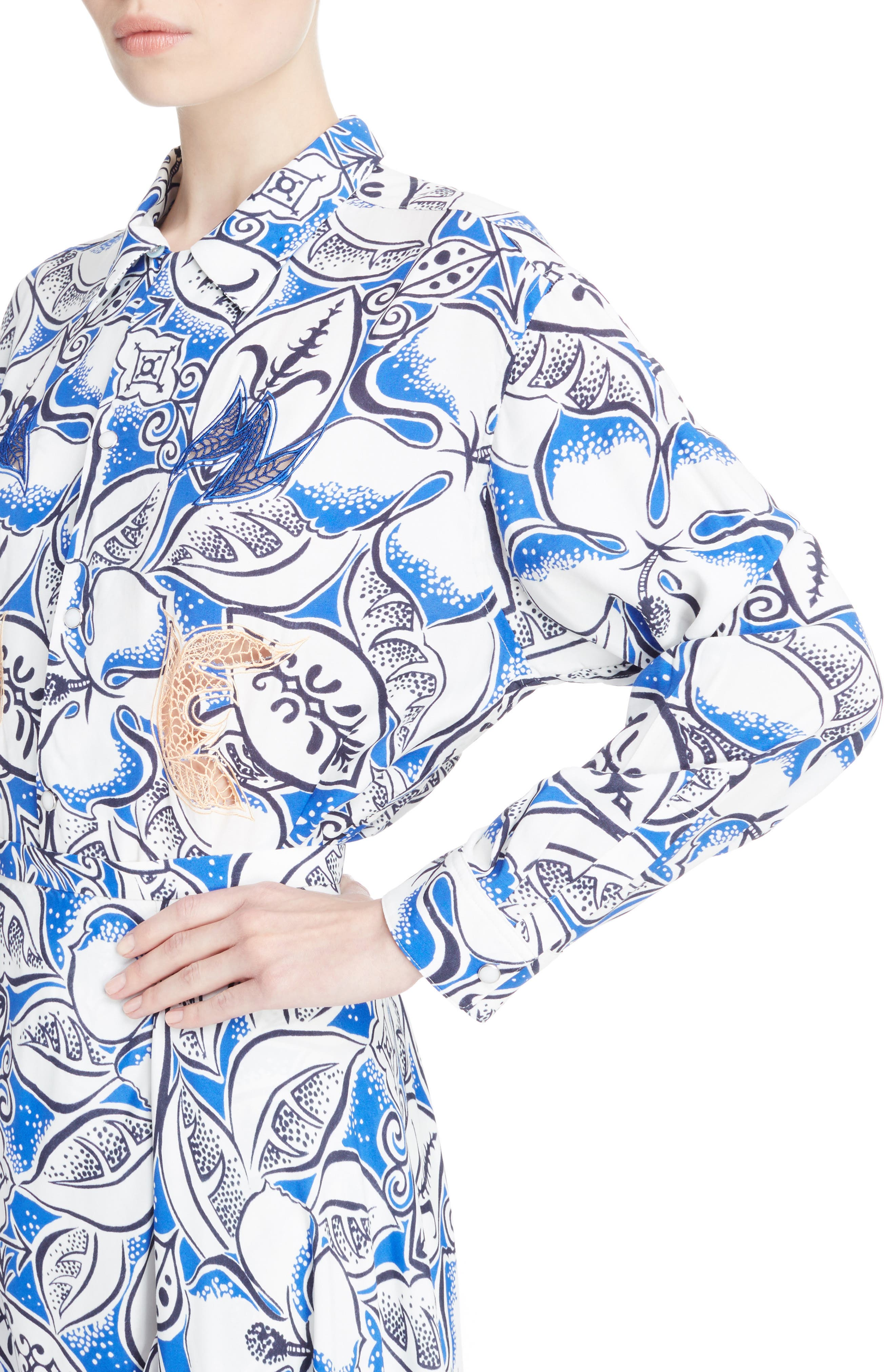 Leaf Print Blouse,                             Alternate thumbnail 4, color,                             Blue
