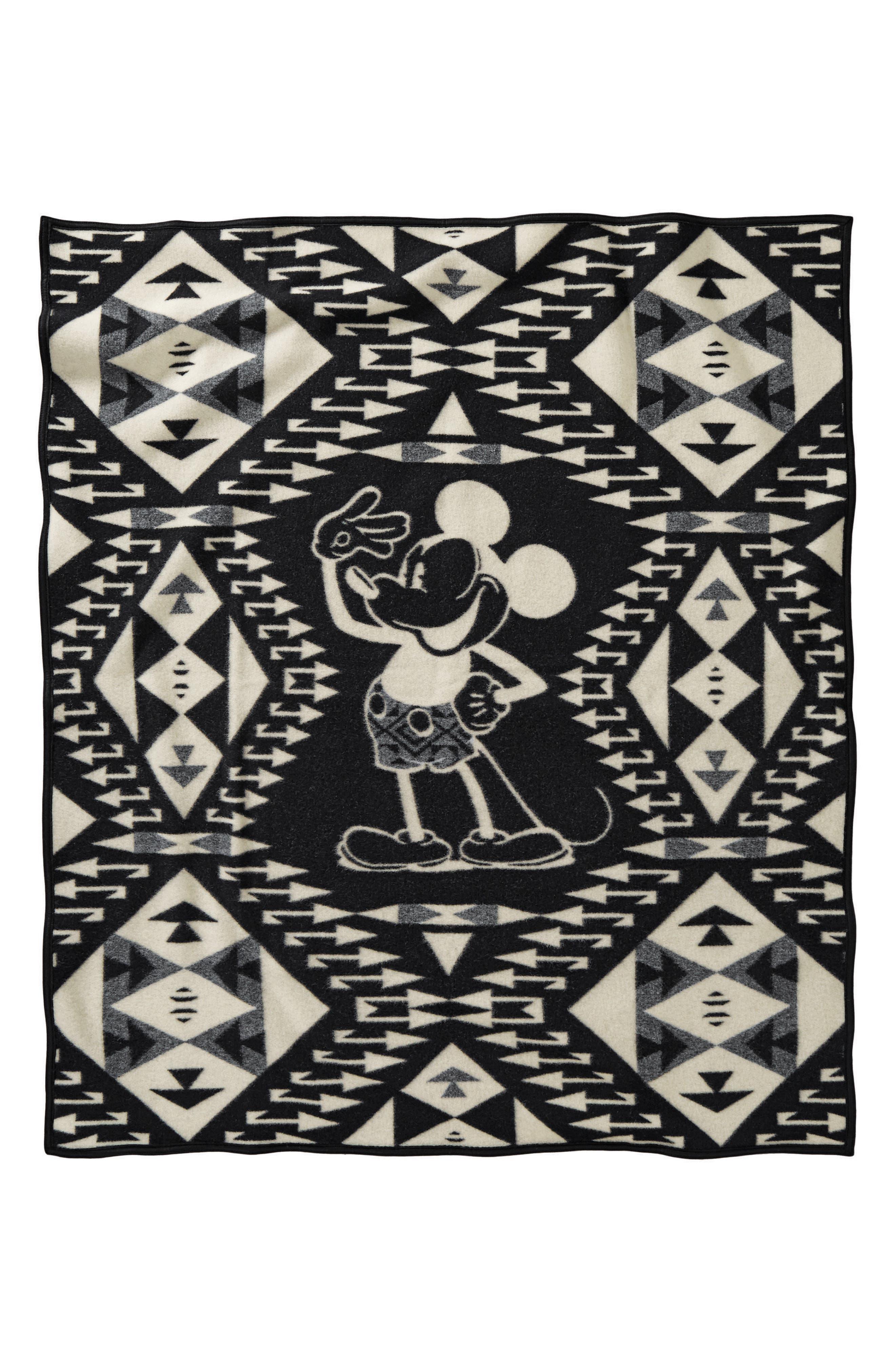 Mickey's Salute Blanket Throw,                             Alternate thumbnail 2, color,                             Black/ White