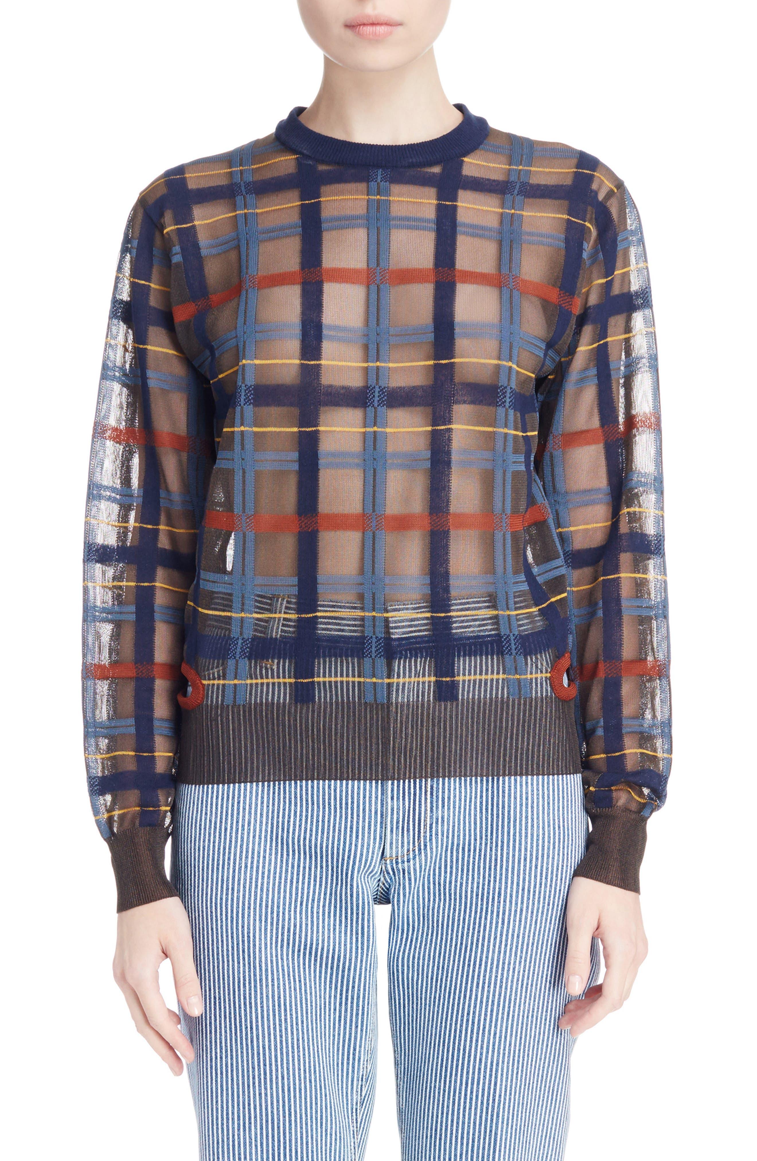 Check Knit Sweater,                             Main thumbnail 1, color,                             Brown