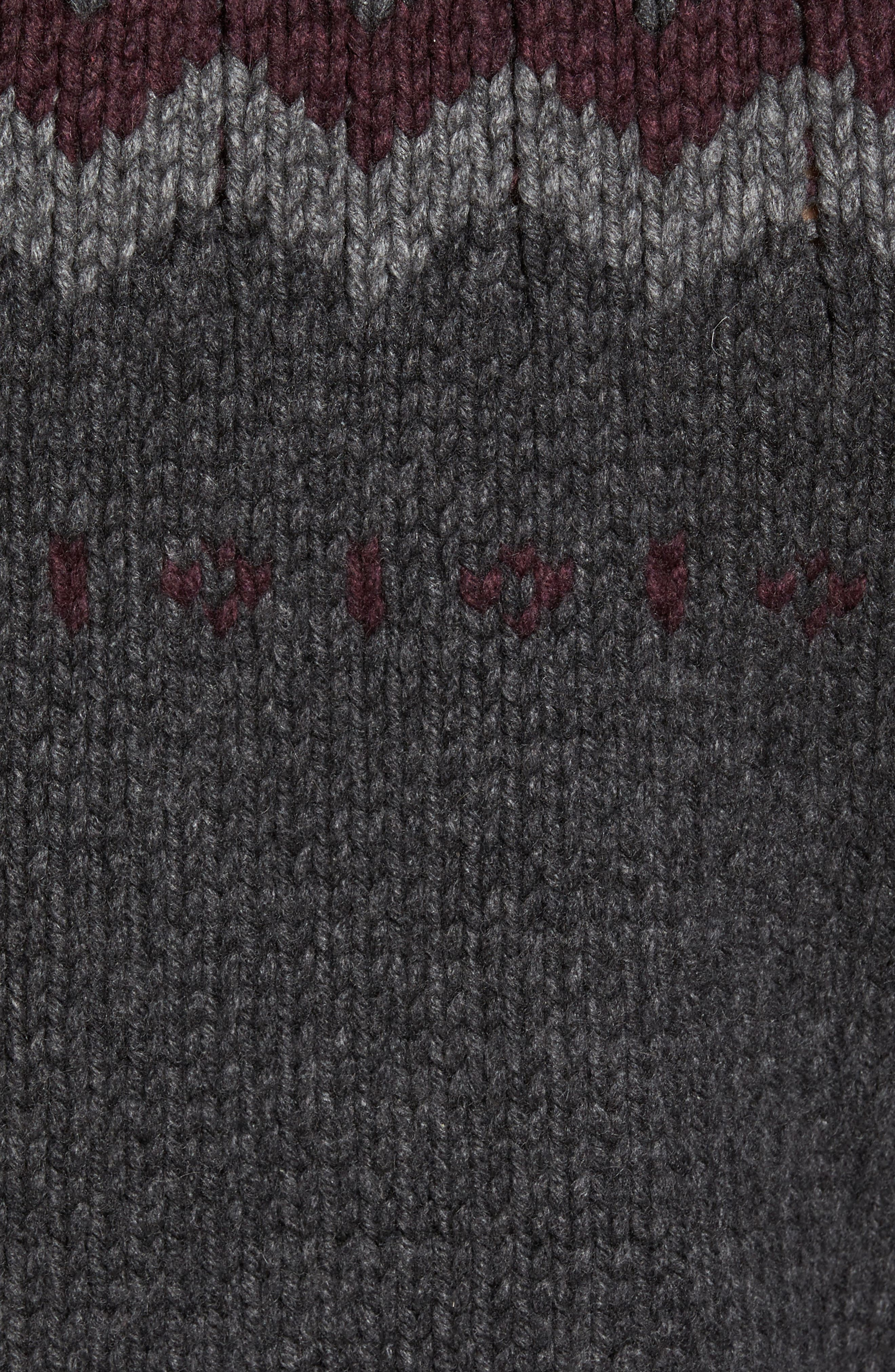 Intarsia Cashmere Sweater,                             Alternate thumbnail 5, color,                             Grey / Burgundy/ Light Grey
