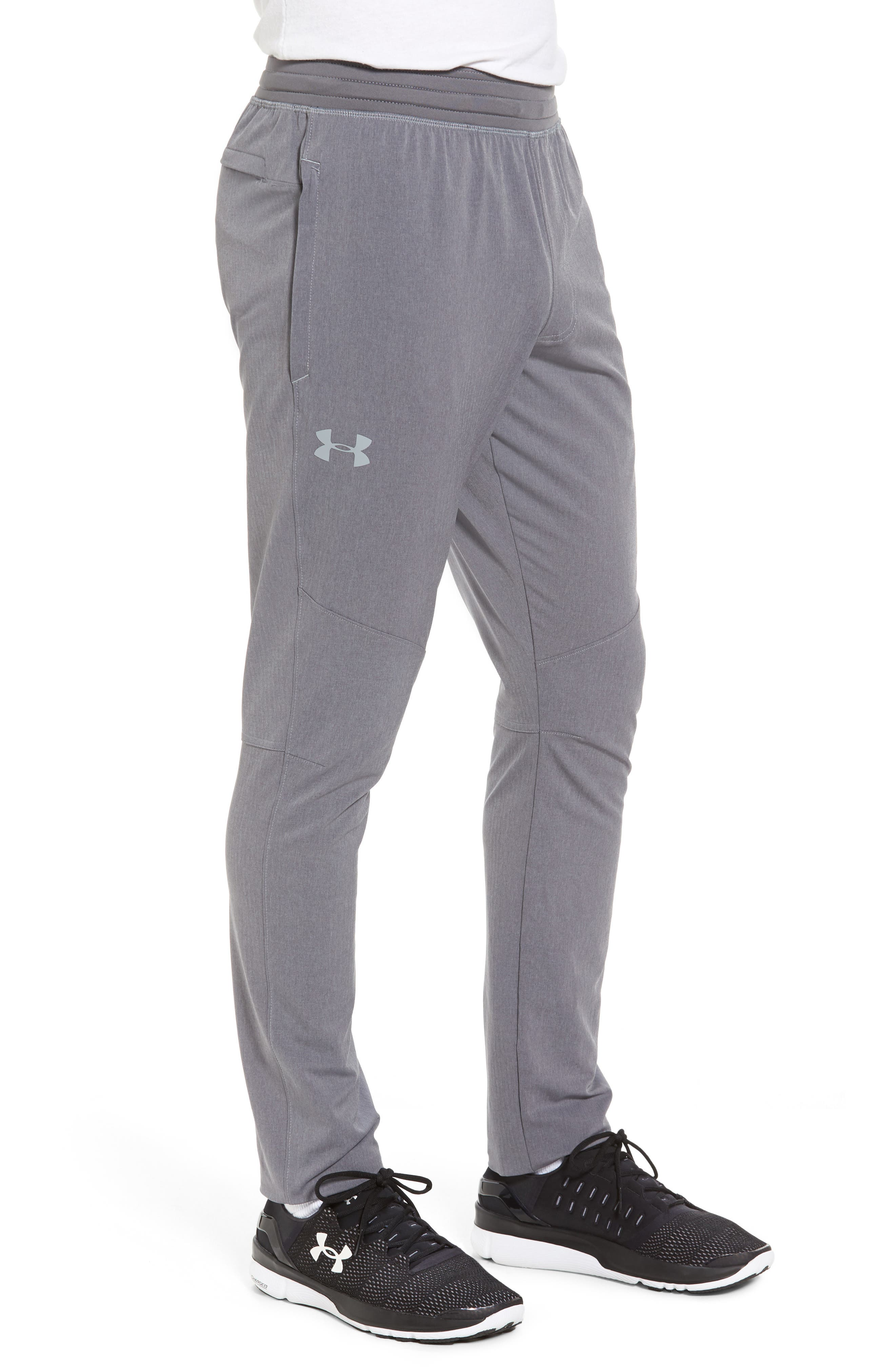 Fitted Woven Training Pants,                             Alternate thumbnail 3, color,                             Grey Heather / Black / Steel