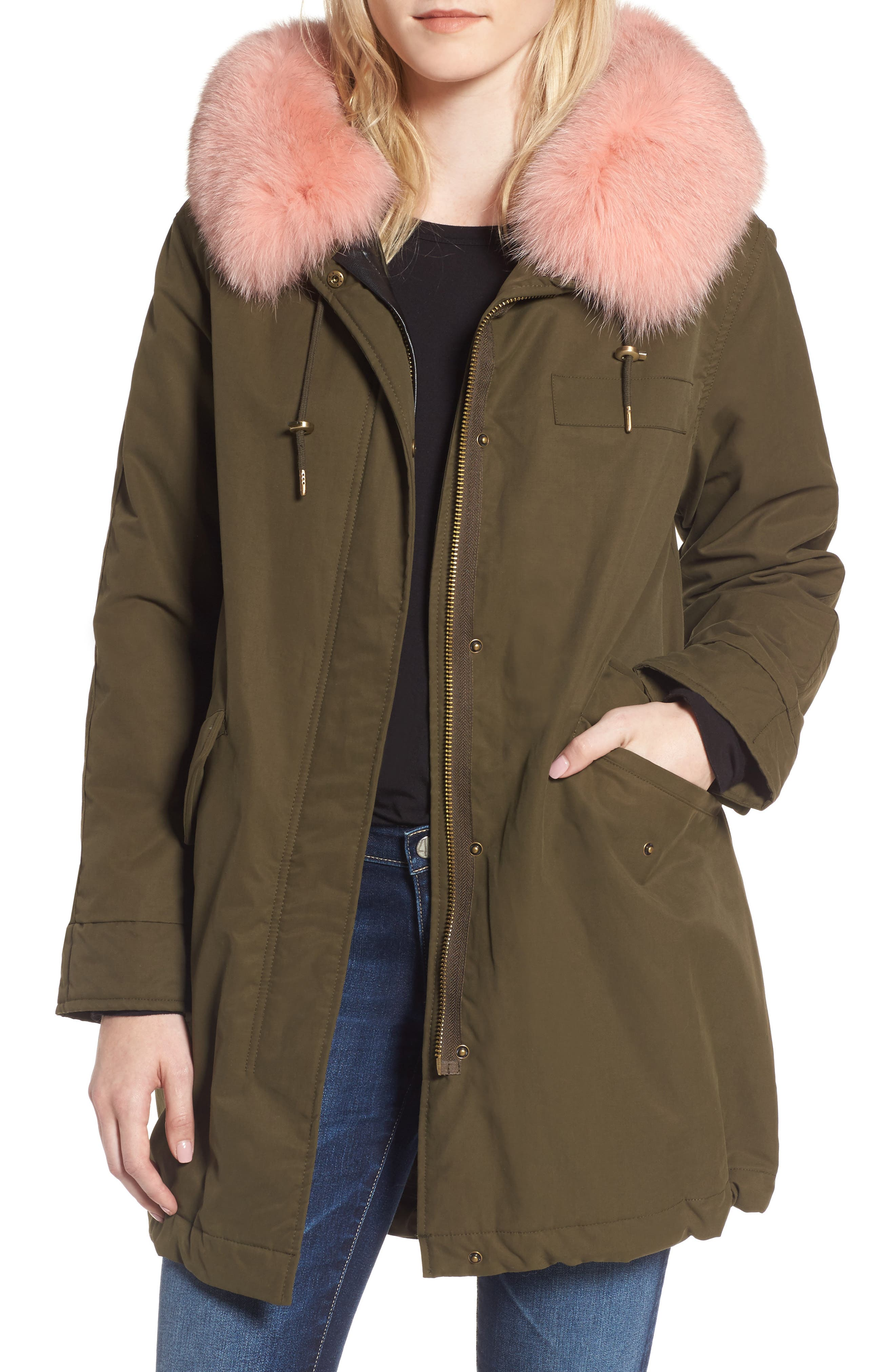 Hooded Cotton Parka with Genuine Fox Fur Trim,                         Main,                         color, Army Olive