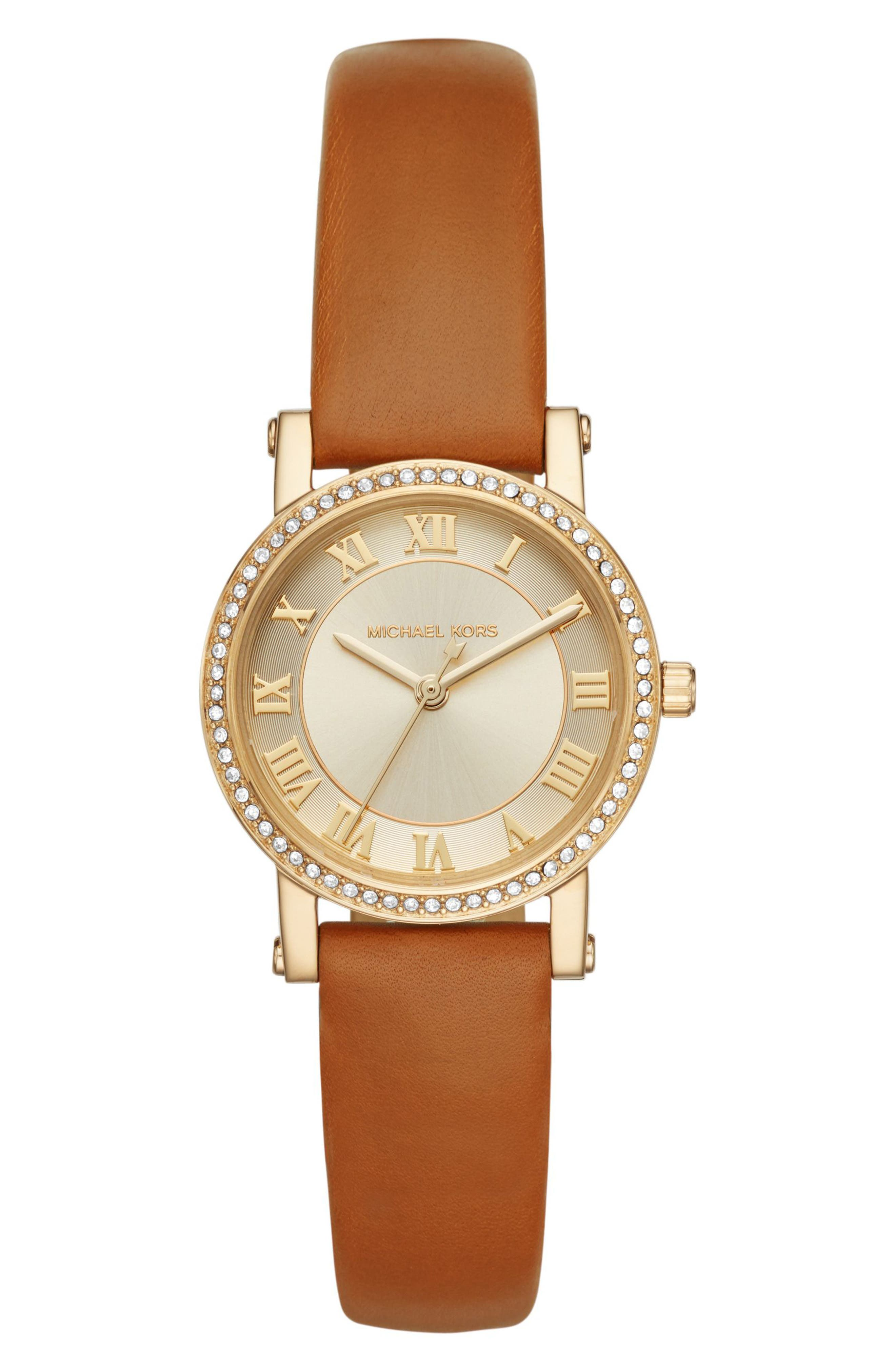 Petite Norie Pavé Leather Strap Watch, 28mm,                         Main,                         color, Brown/ Gold