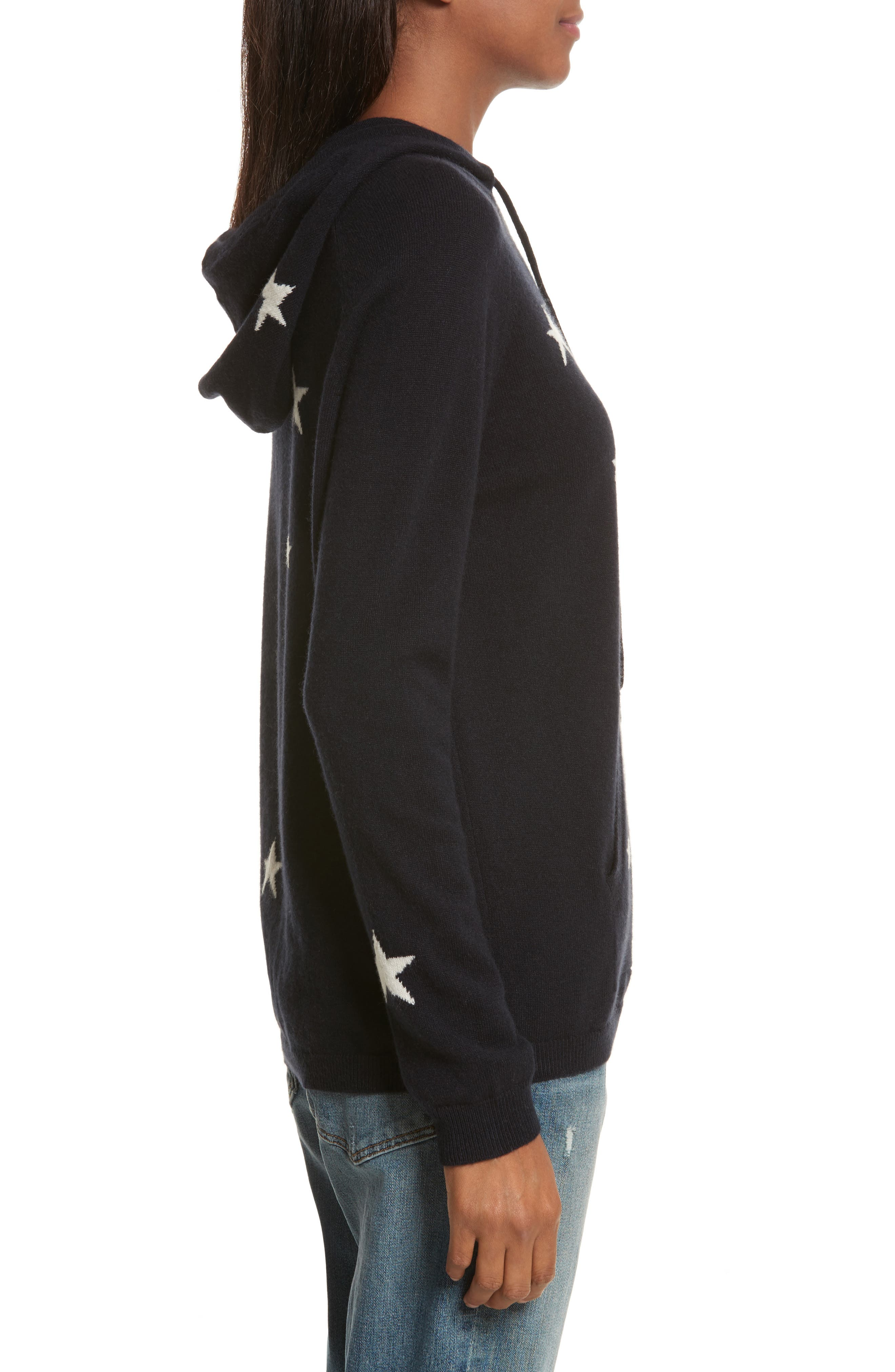 CHINTI & PARKER Star Cashmere Hoodie,                             Alternate thumbnail 3, color,                             Navy/ Cream