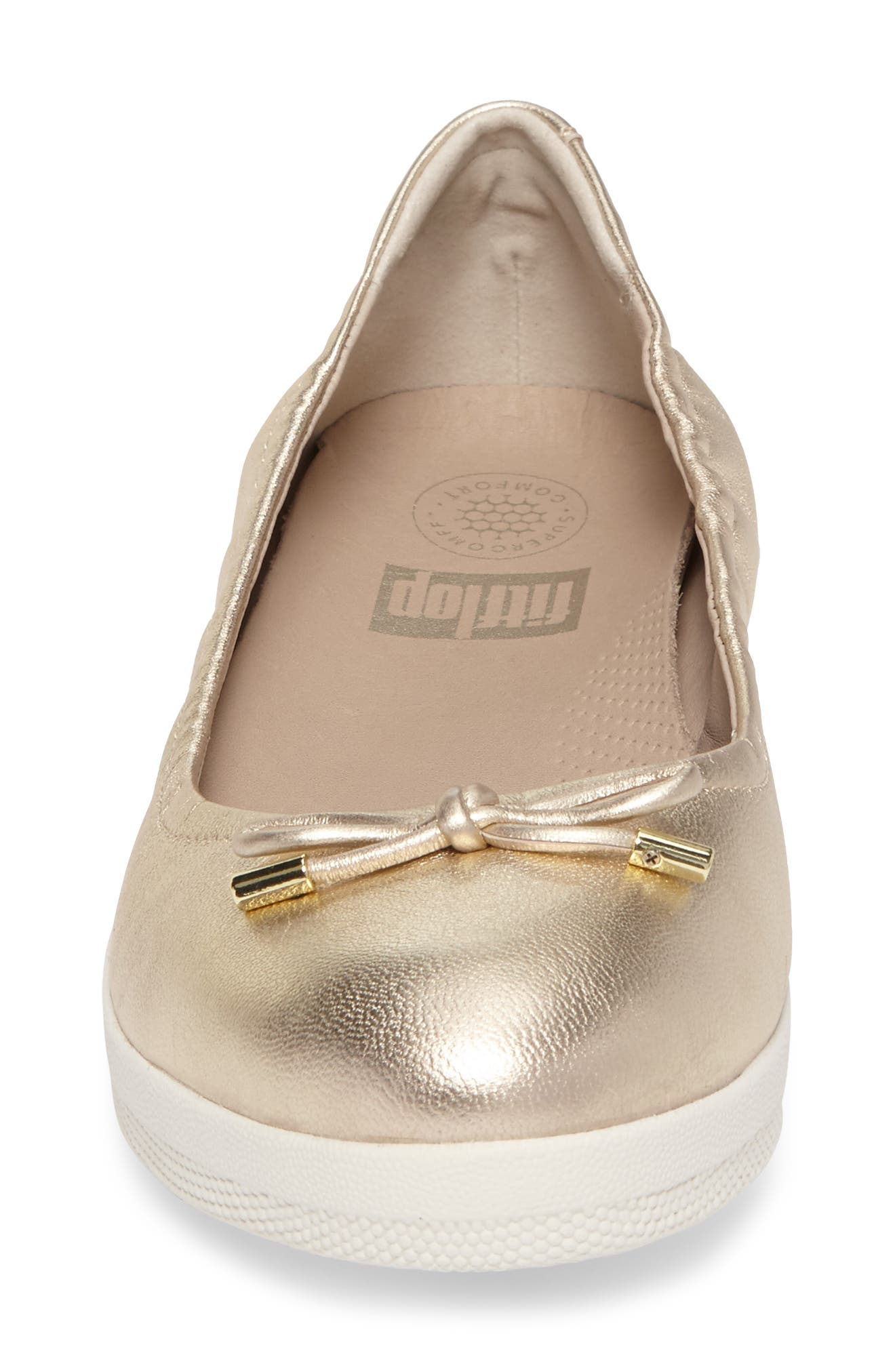 Superbendy Ballerina Flat,                             Alternate thumbnail 4, color,                             Pale Gold Leather