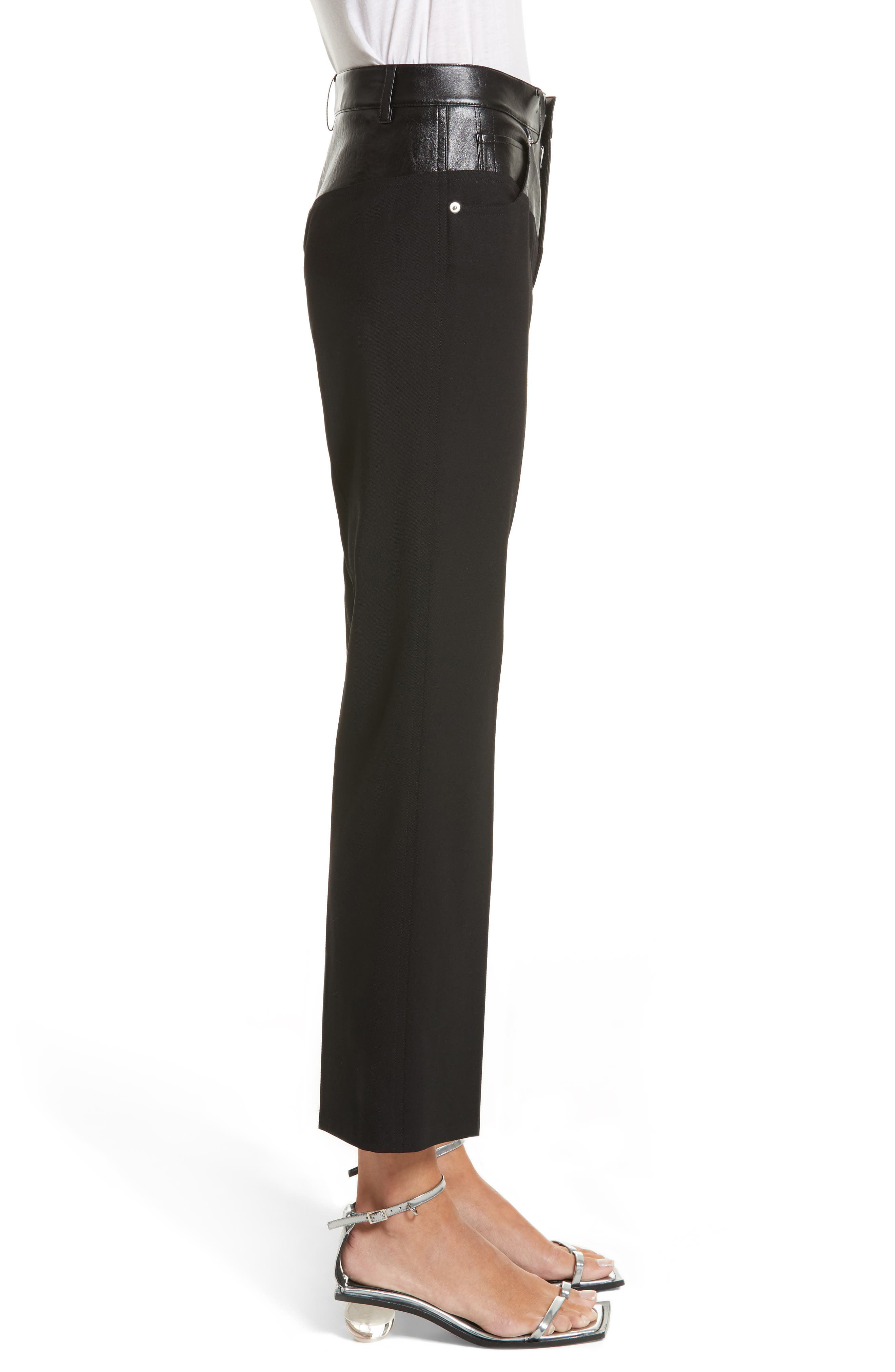 Textured Suiting & Leather Garter Flare Pants,                             Alternate thumbnail 3, color,                             Black
