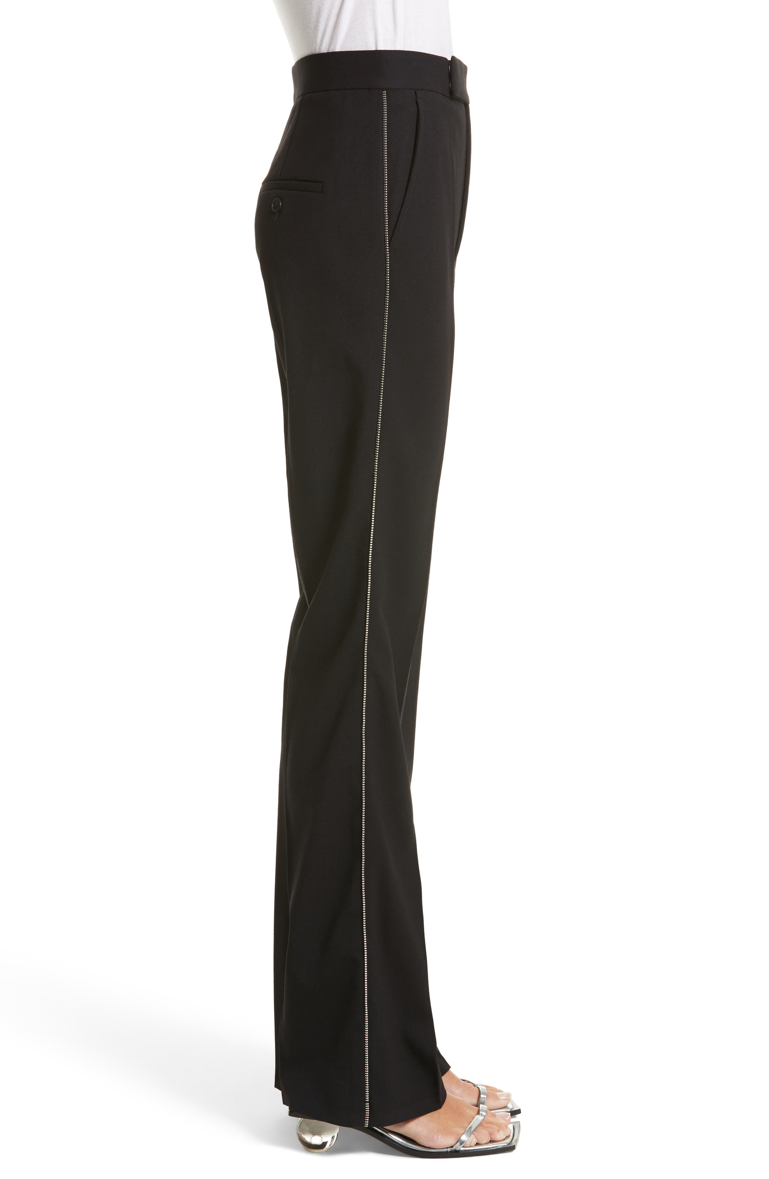 Side Zip Detail Suiting Pants,                             Alternate thumbnail 3, color,                             Black