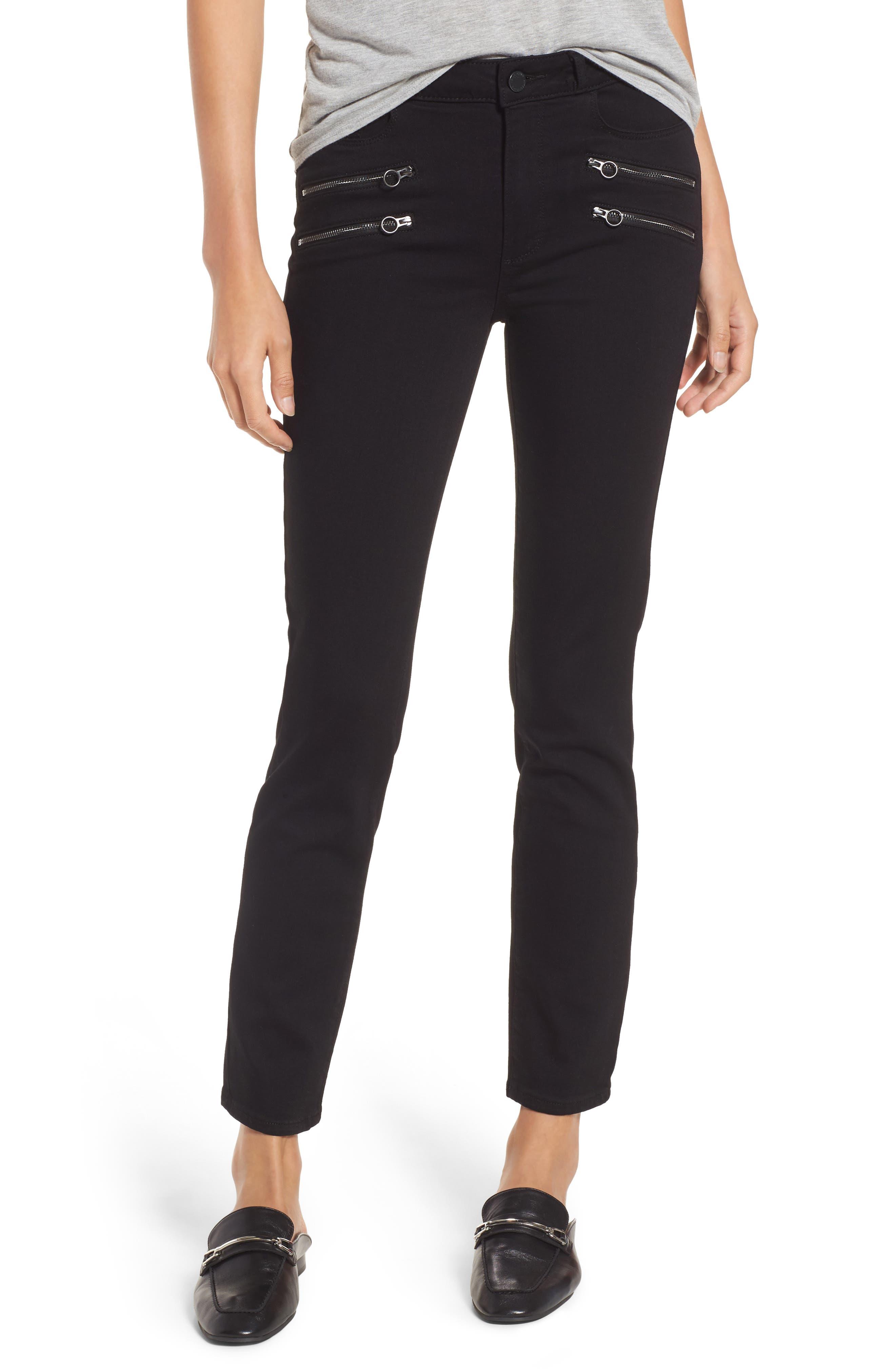 Main Image - PAIGE Transcend - Kylo High Waist Skinny Jeans (Black Shadow)