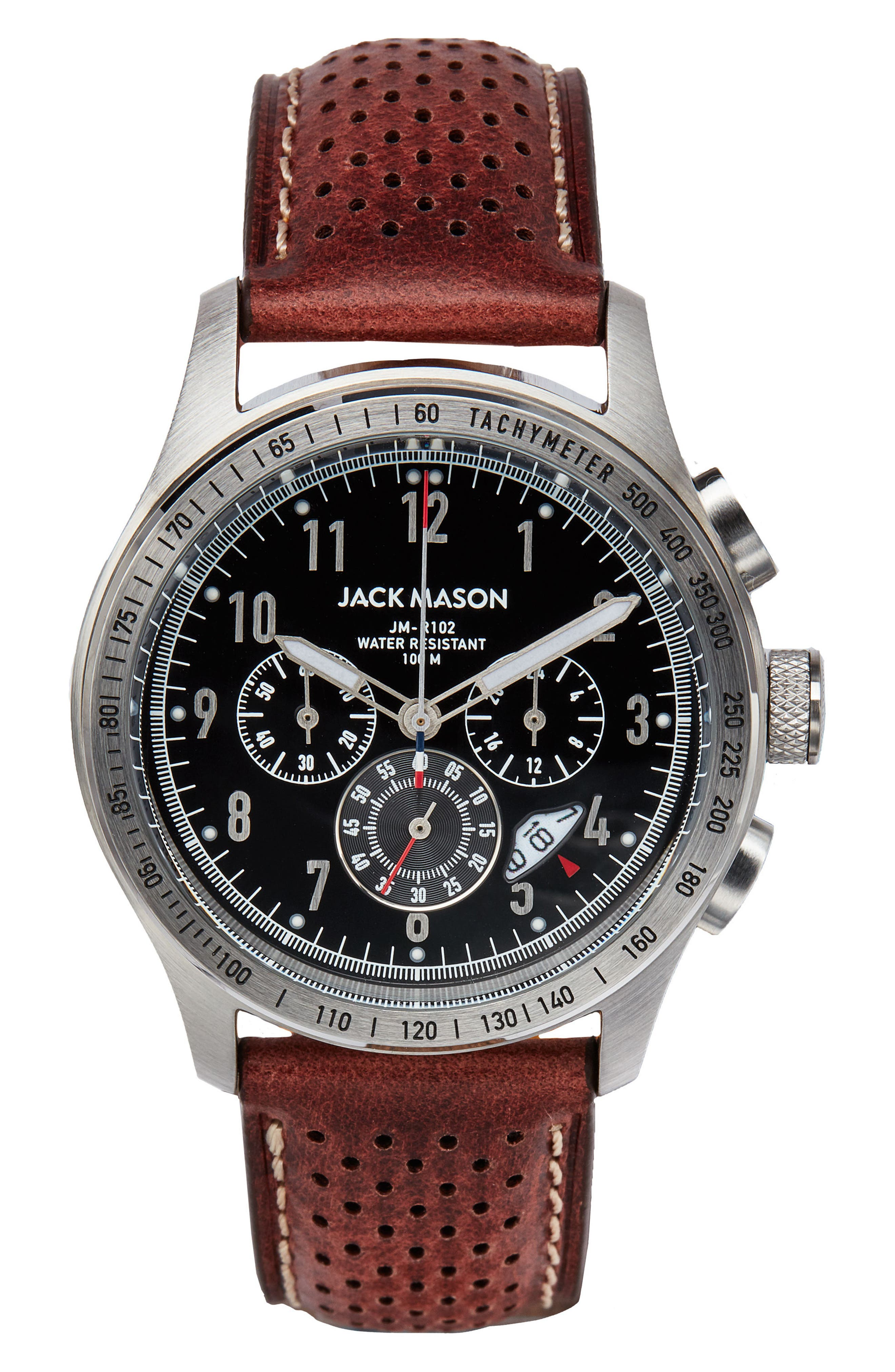 Racing Chronograph Leather Strap Watch, 42mm,                             Main thumbnail 1, color,                             Black/ Brown