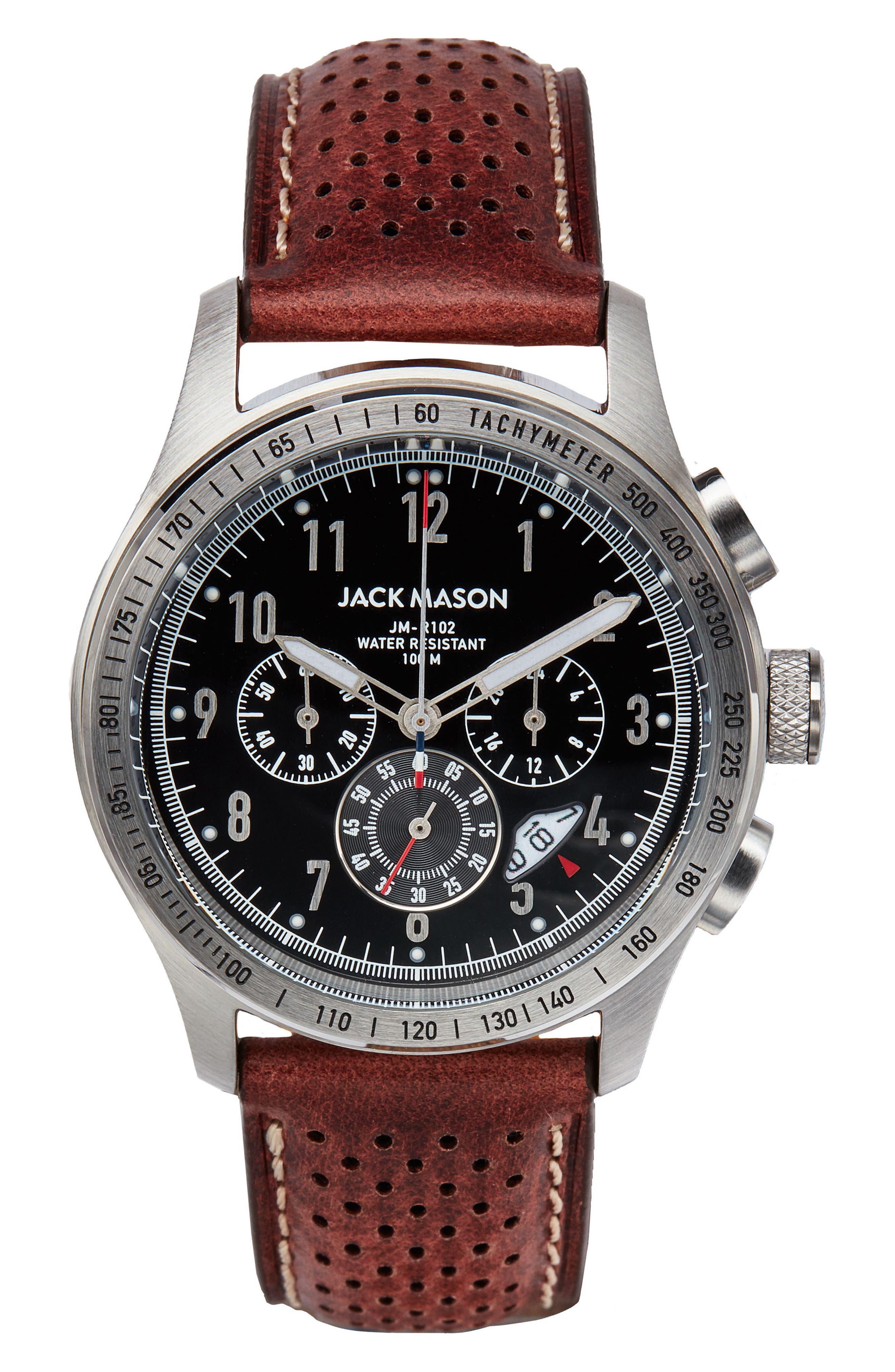 Main Image - Jack Mason Racing Chronograph Leather Strap Watch, 42mm