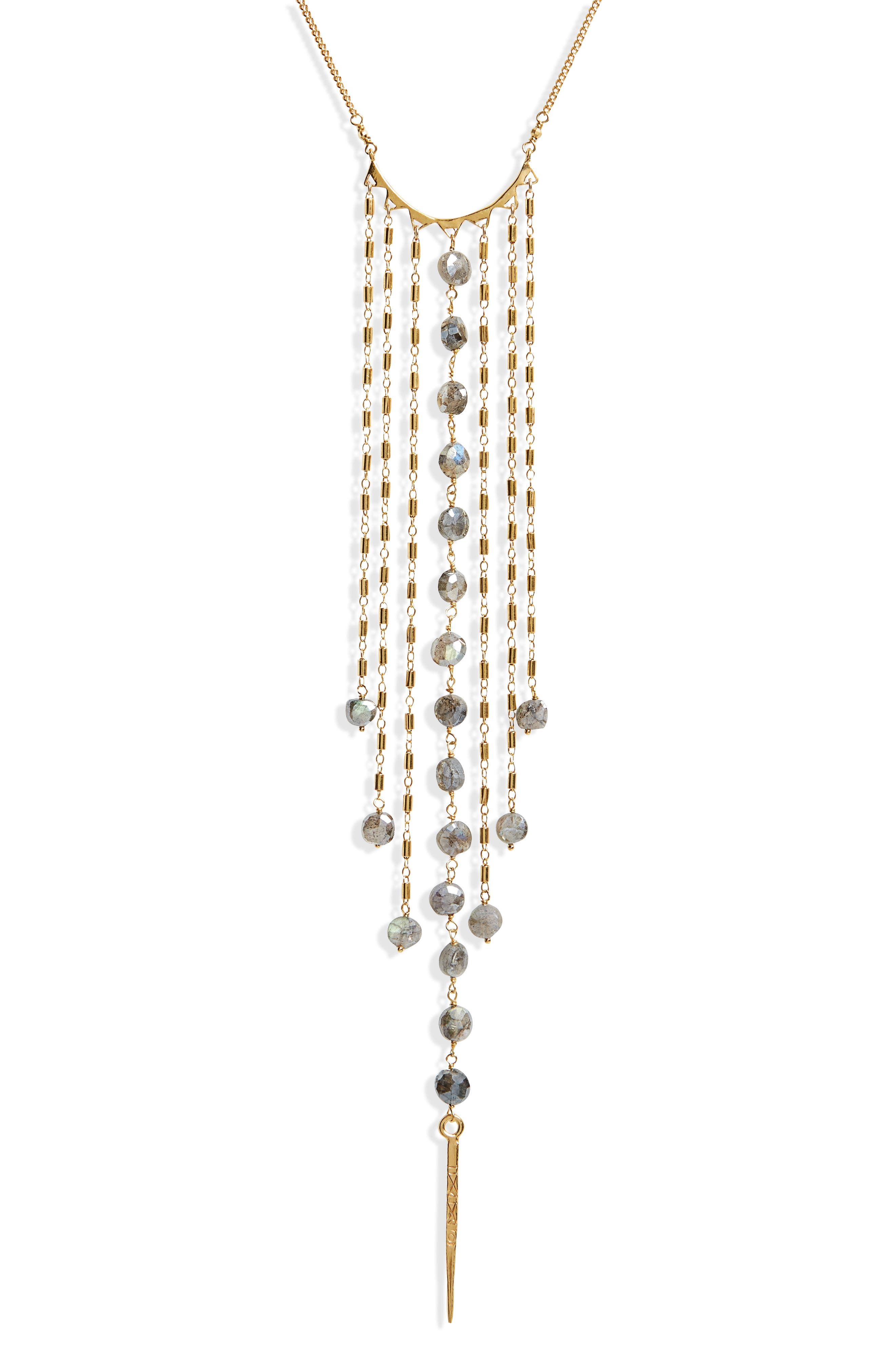 Mystic Labradorite Fringe Necklace,                             Alternate thumbnail 2, color,                             Mystic Lab/ Gold