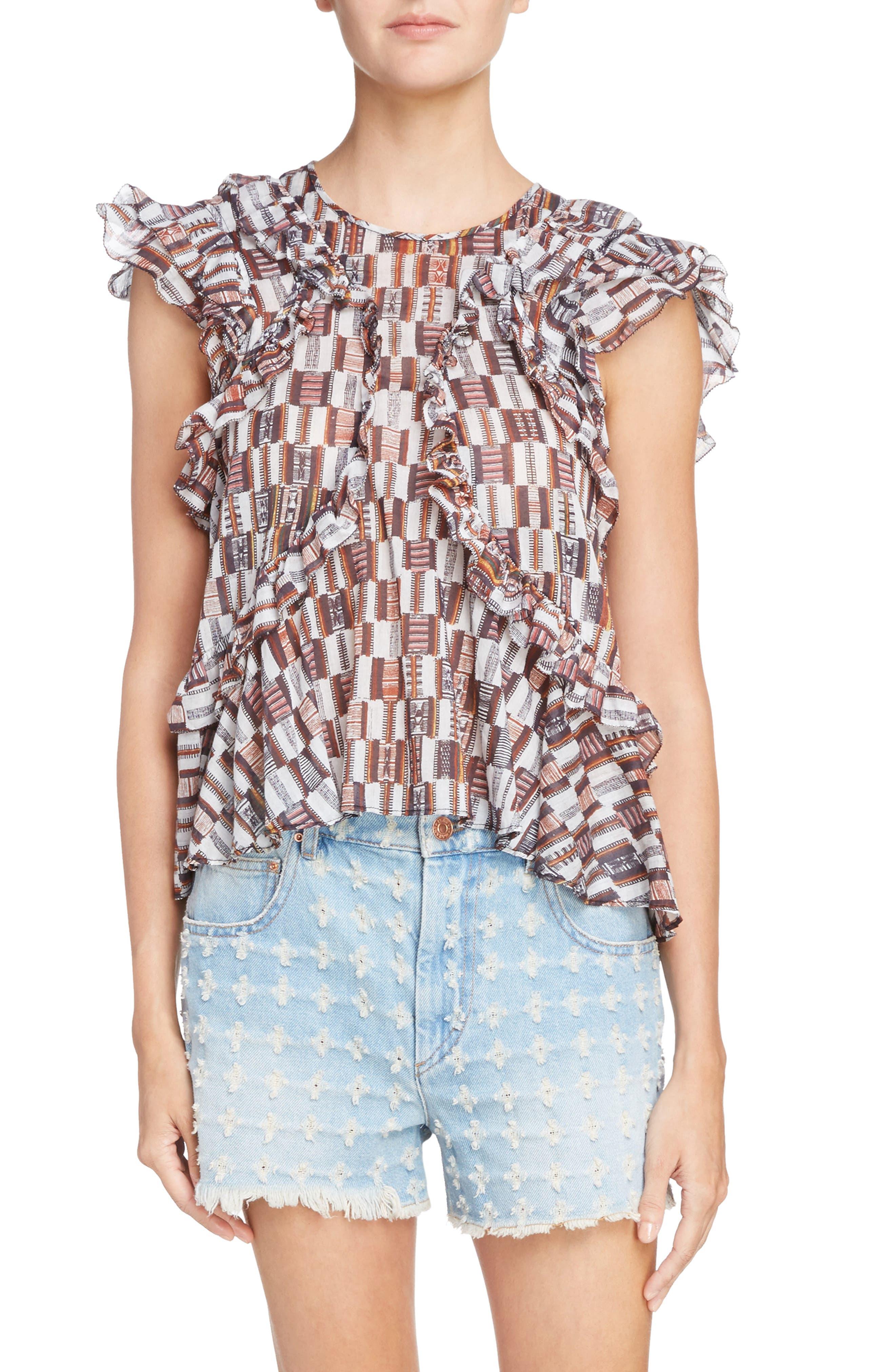 Alternate Image 1 Selected - Isabel Marant Étoile Nalou Print Cotton Top