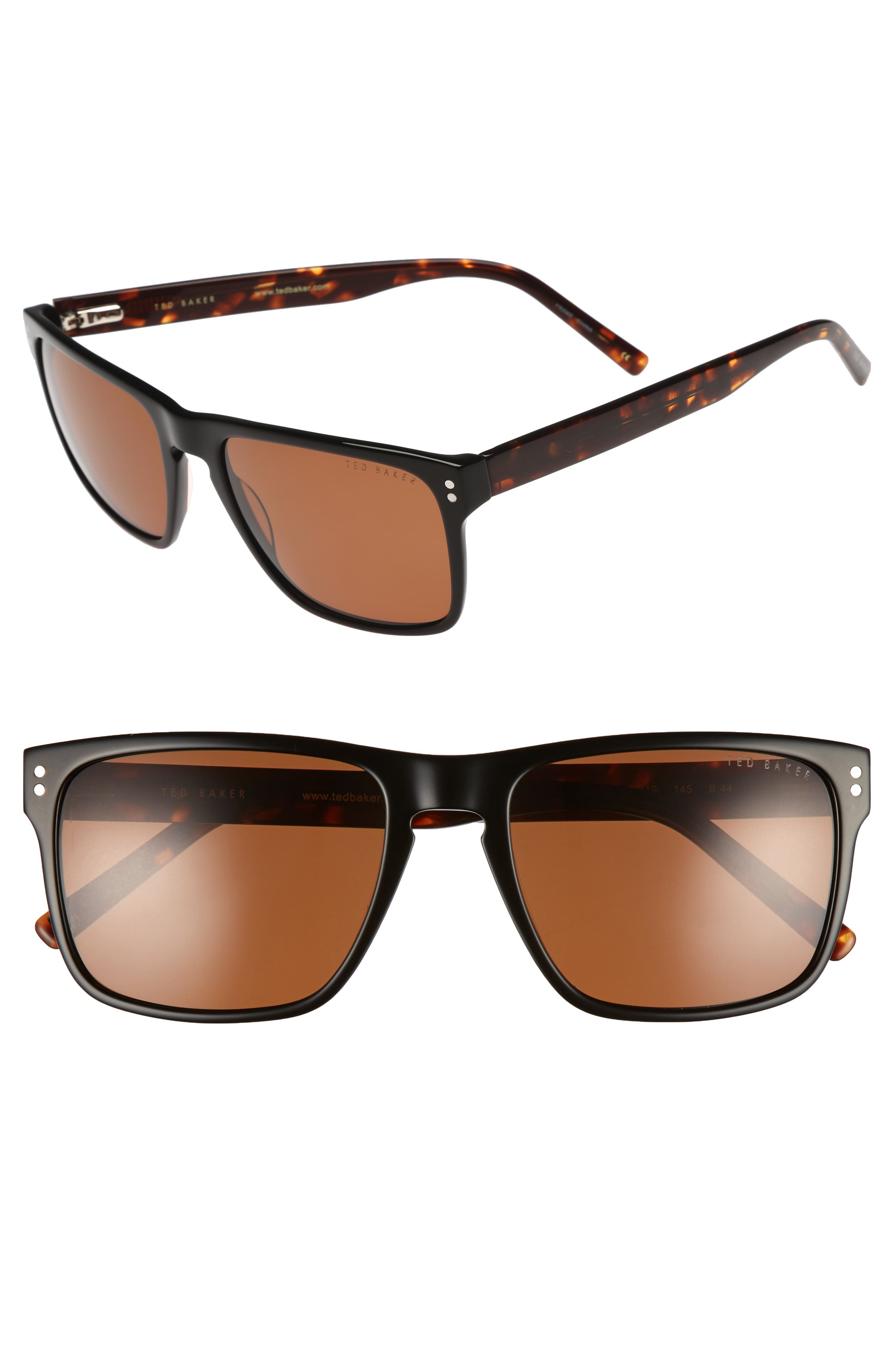 56mm Polarized Rectangle Sunglasses,                         Main,                         color, Tortoise