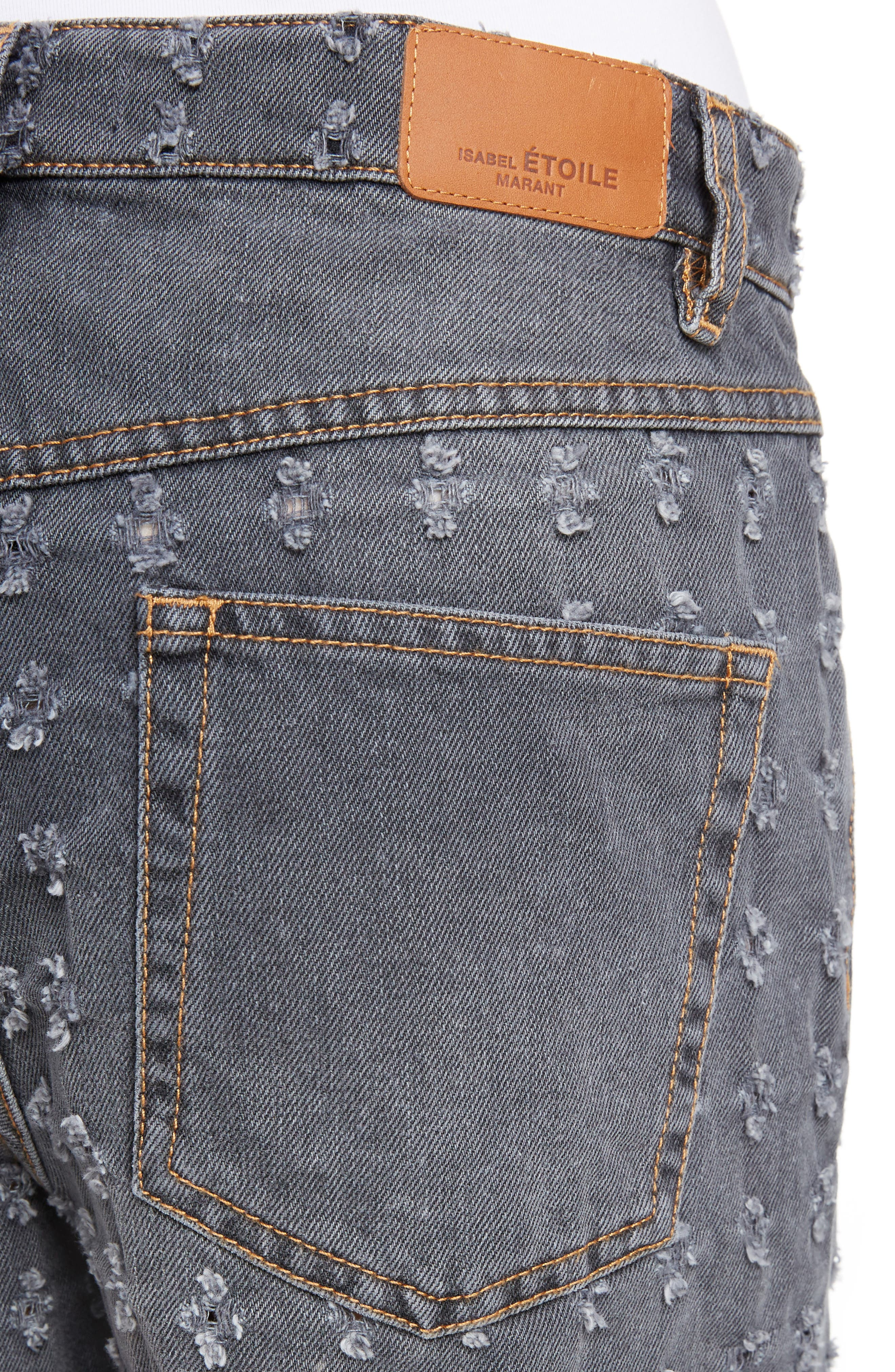 Isabel Marant Étoile Ripped Denim Shorts,                             Alternate thumbnail 7, color,                             Grey